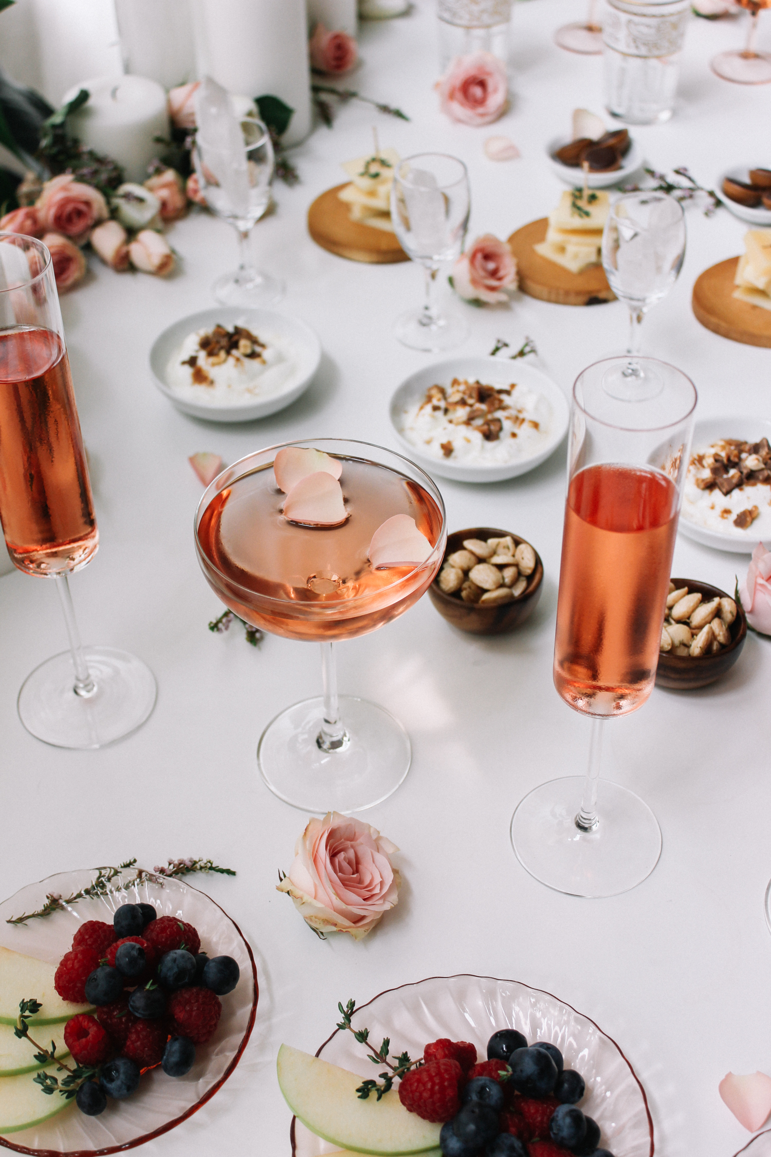 An easy way to add interest to your usual wine or champagne, just add rose petals | A Fabulous Fete