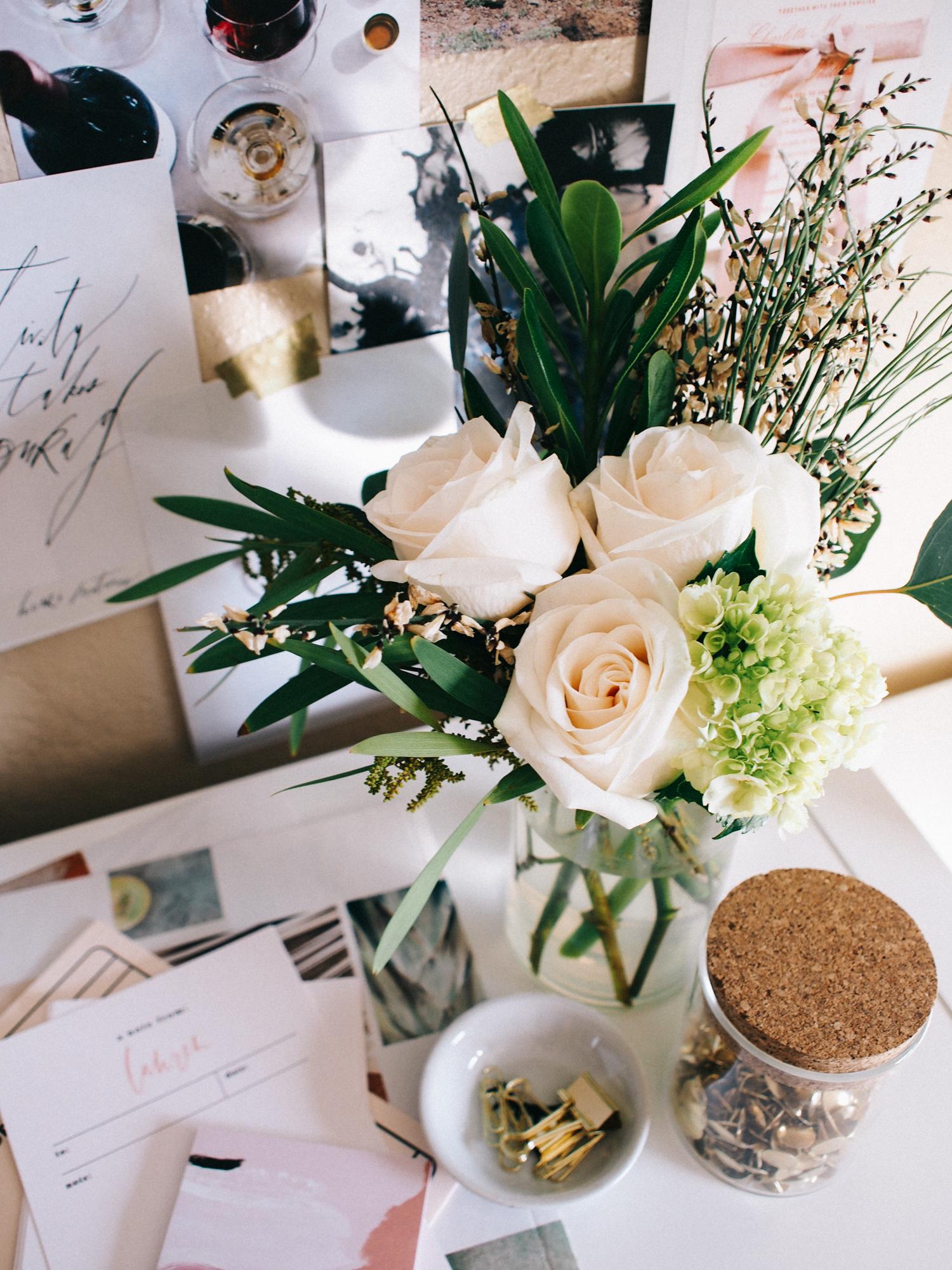 Simple white rose arrangement | A Fabulous Fete
