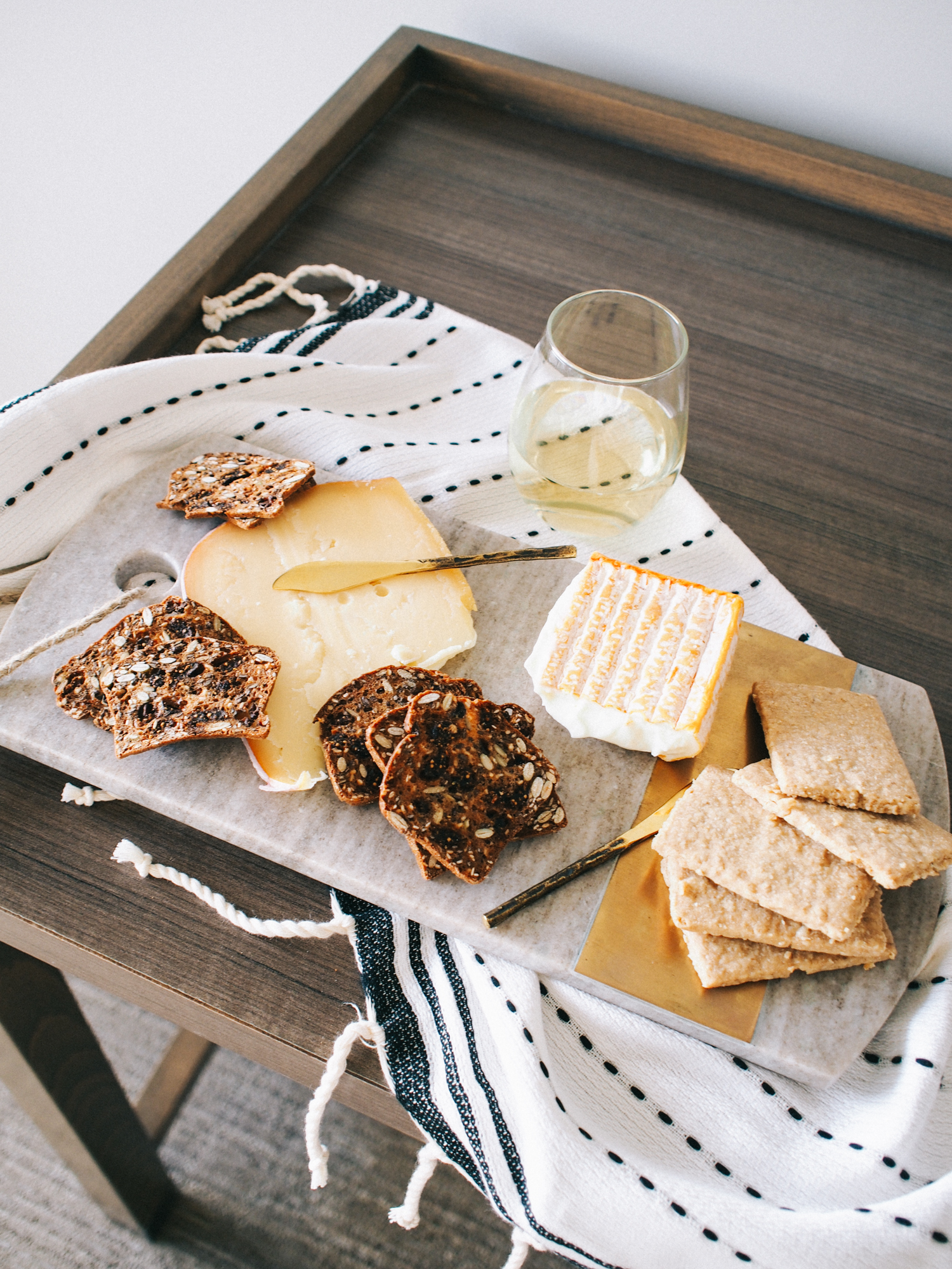 Hotel room cheese boards for happy hour, more on the blog about our fave cheese shop in Laguna! | A Fabulous Fete
