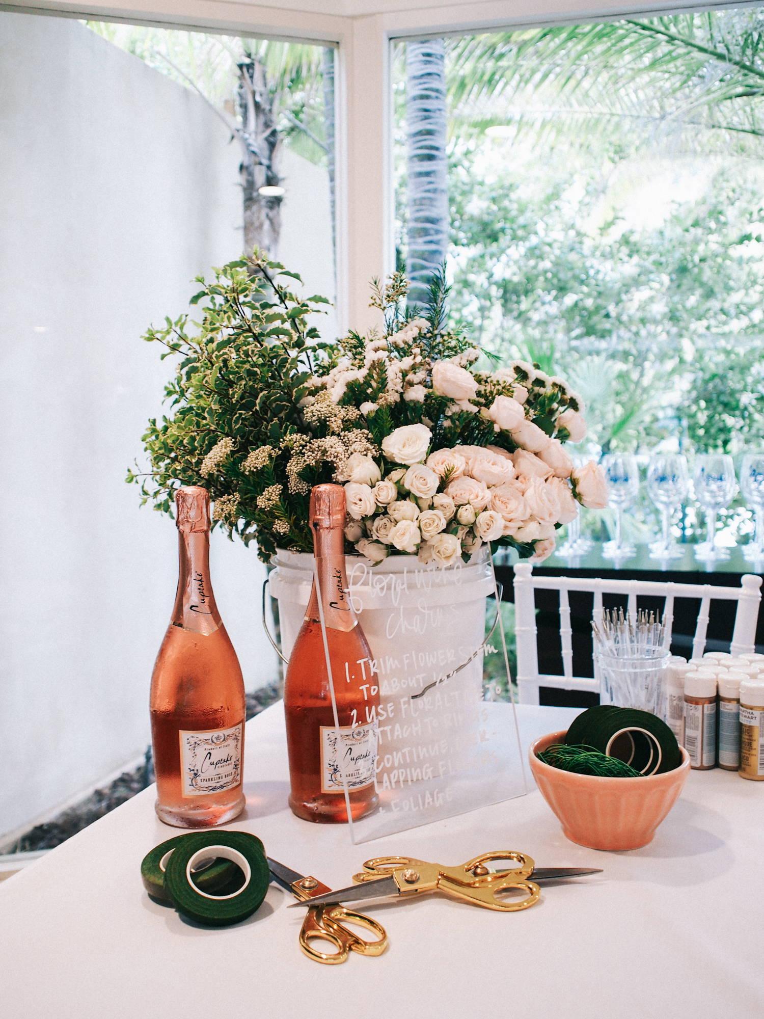 Floral wine charm DIY station for Cupcake Vineyards party | A Fabulous Fete