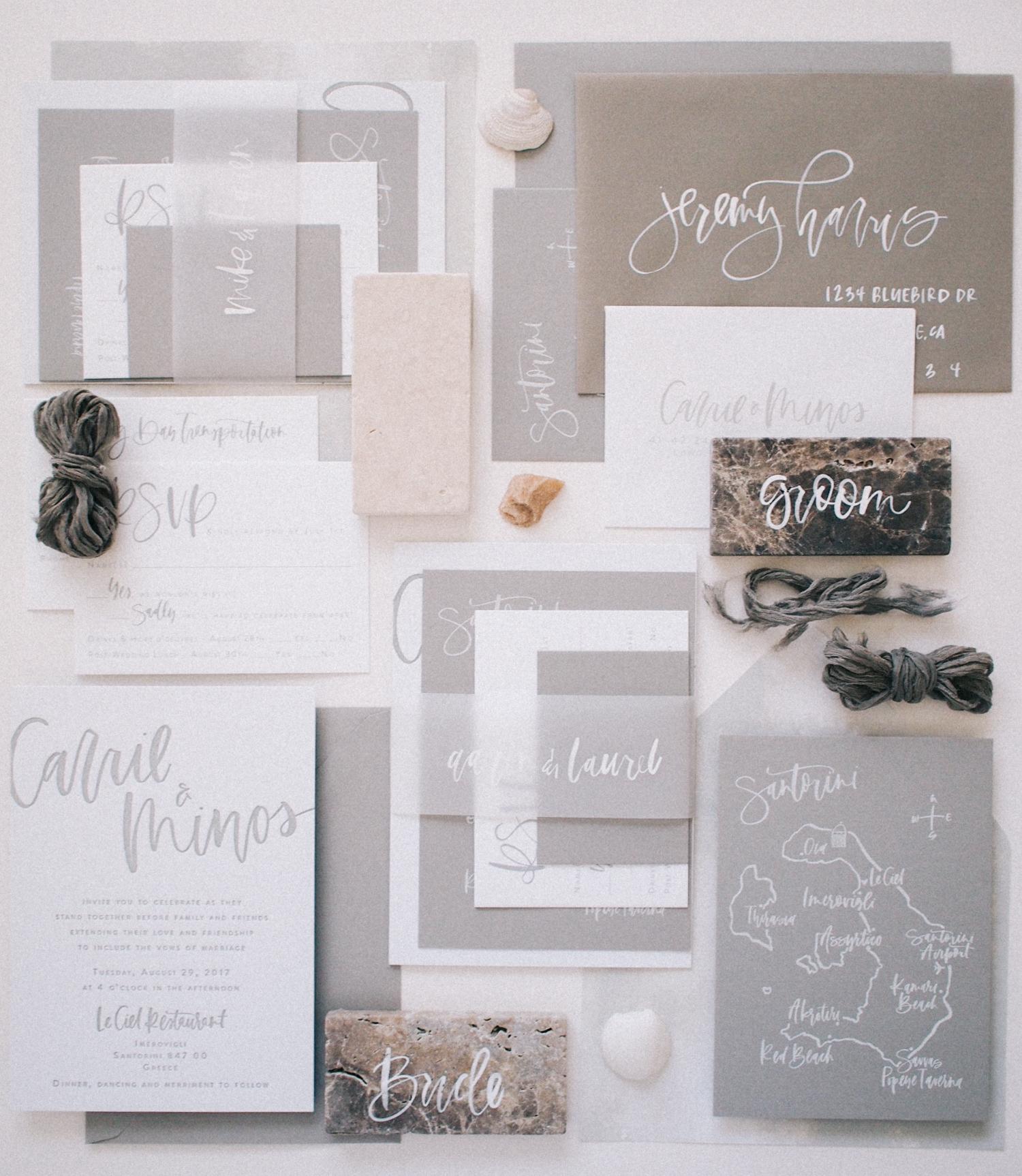 All grey wedding suite for a Santorini wedding | A Fabulous Fete