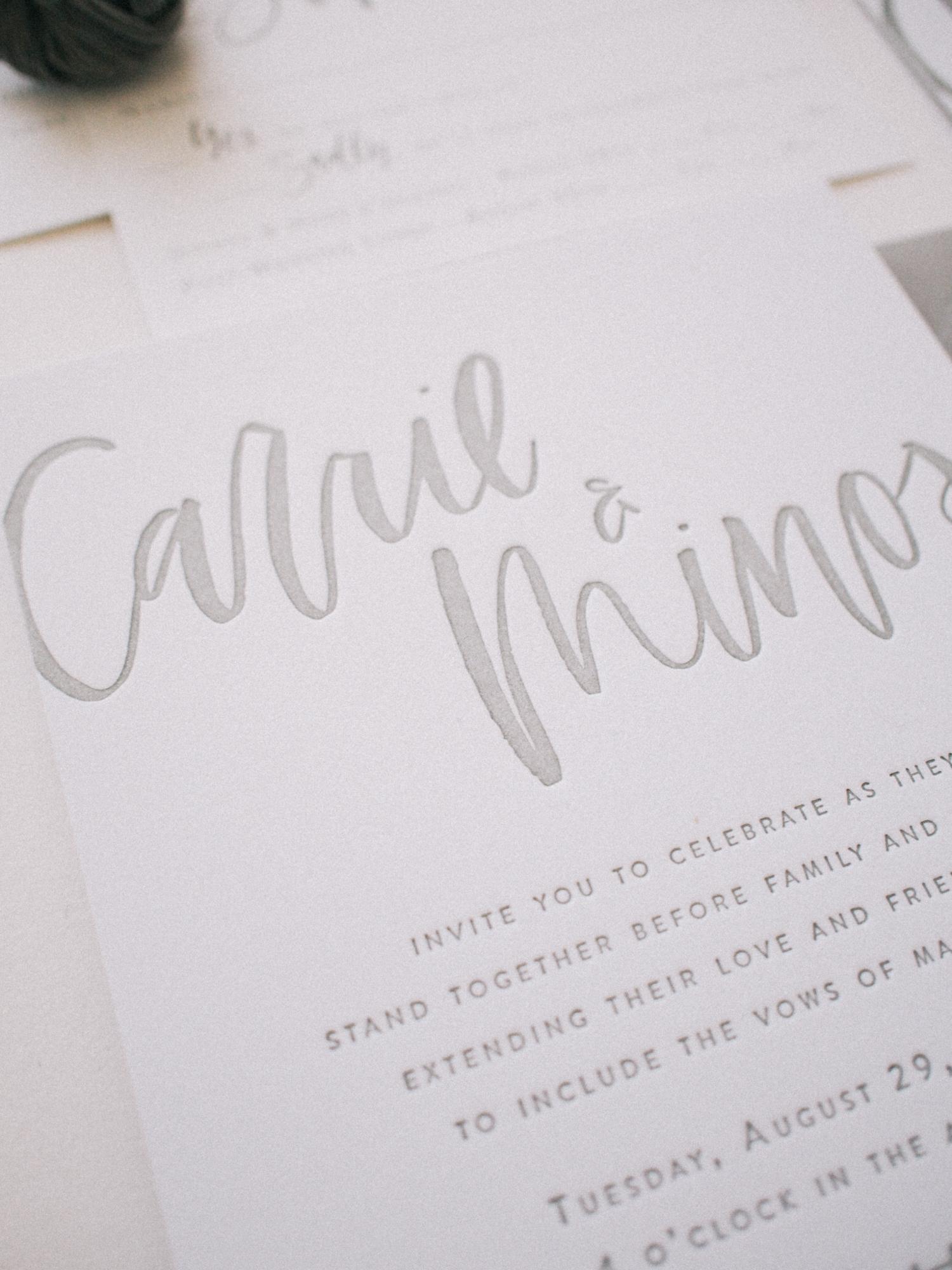 Grey letterpress on double thick cotton paper | A Fabulous Fete