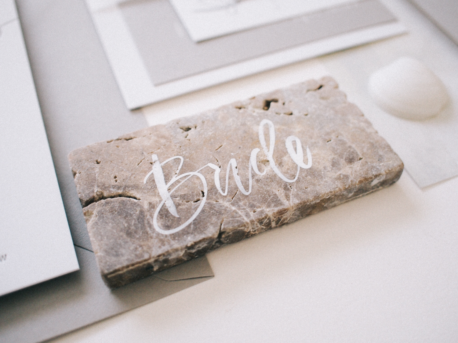 Hand lettered stone tile place cards | A Fabulous Fete