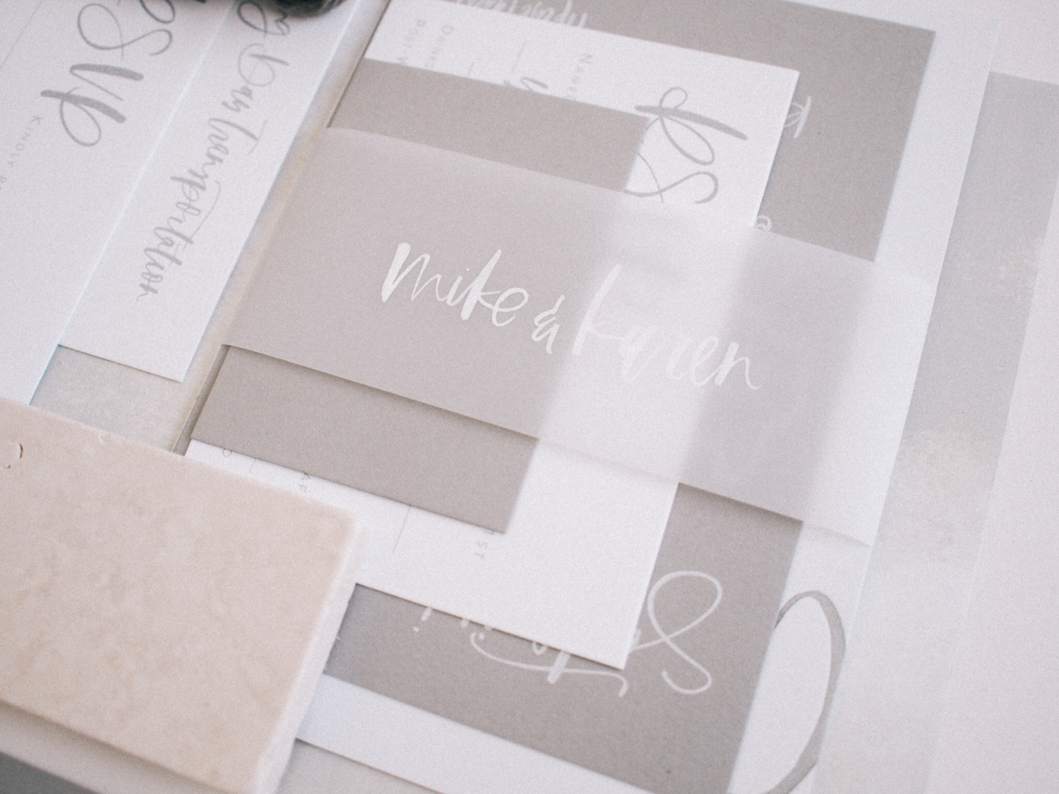 Minimal grey hand lettered wedding invitation suite | A Fabulous Fete