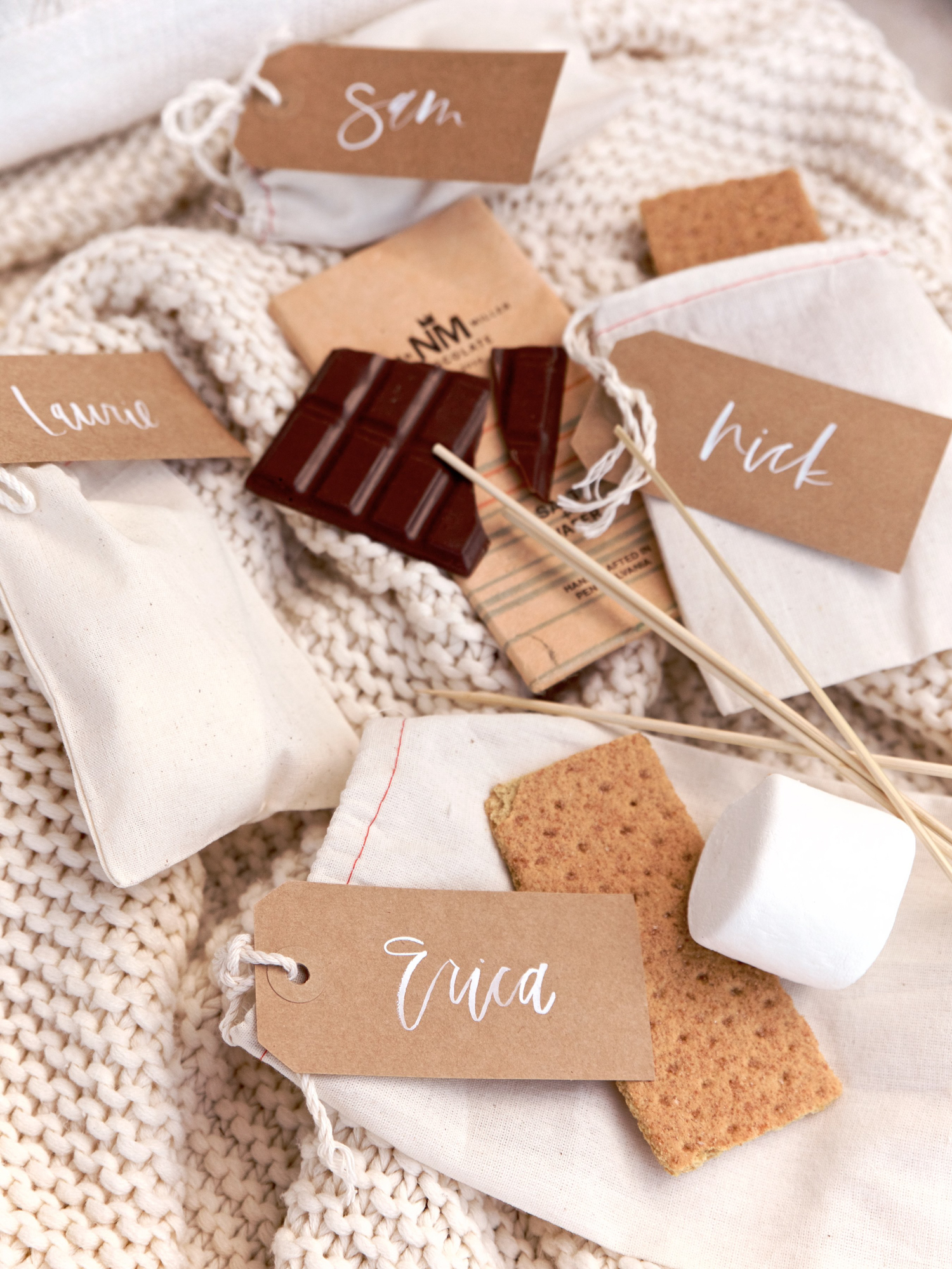 Elevated s'mores complete with gourmet chocolate and hand lettered tags | A Fabulous Fete