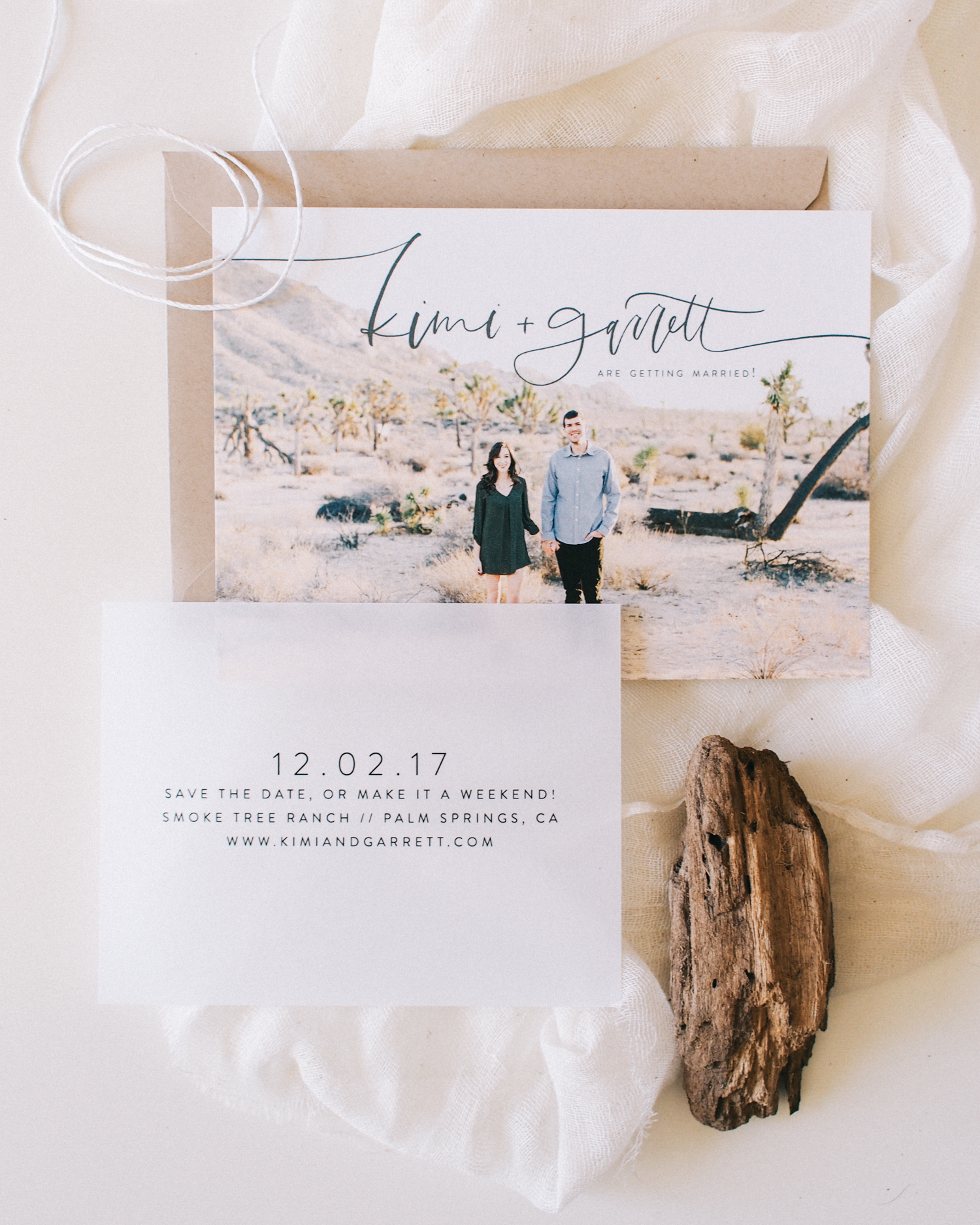 The Kimi - Save the Date with Vellum Insert | Starts at $425