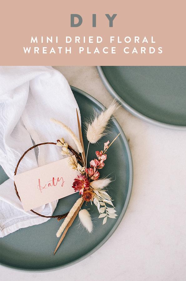 DIY Mini Dried Floral Wreath Place Cards | A Fabulous Fete