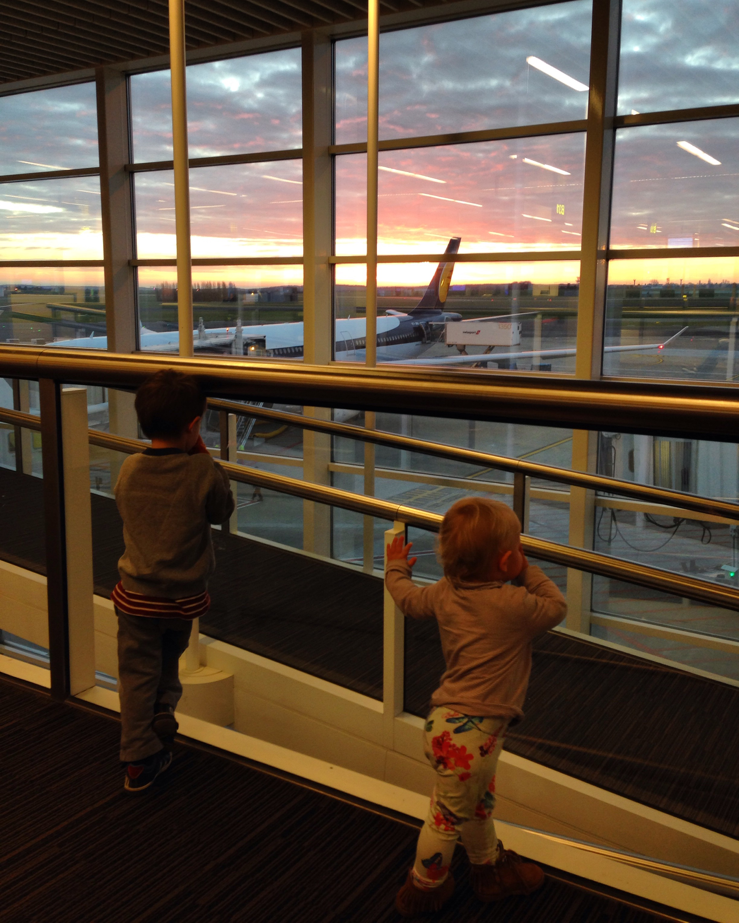 A beautiful sunrise at Brussels Airport