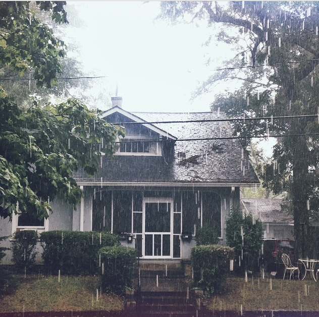 There's not much better... - than Ladydale on a rainy day! The windows upstairs were the main part of our tiny attic apartment.