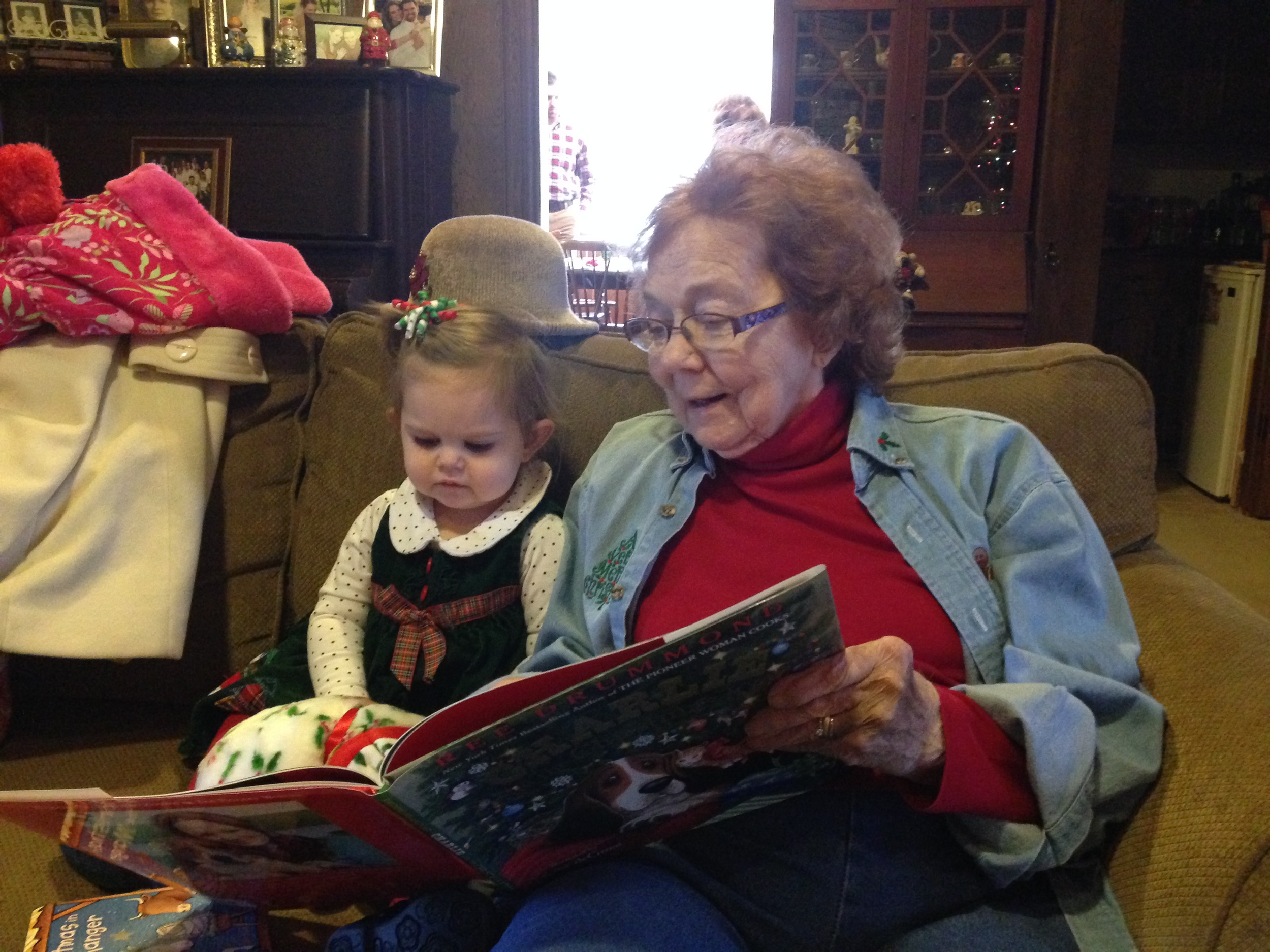 Christmas 2013, Grandma (or GG) reads to her great granddaughter, Maddie, about Charlie's Christmas. Love this picture for so many reasons!
