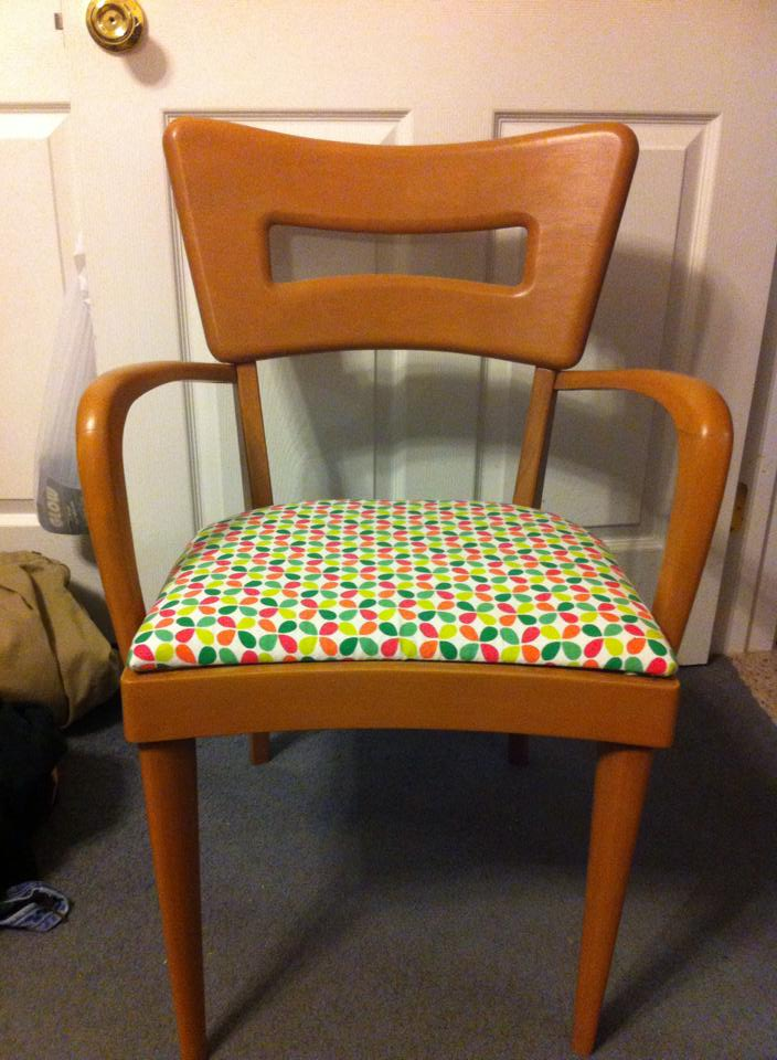 After!  I picked this fabric as 4 of mine have original dark green vinyl in mint condition, so wanted to coordinate the other 2.  I still have 5 more of my own chairs to restore when I get around to it.  We are using them in the mean time.