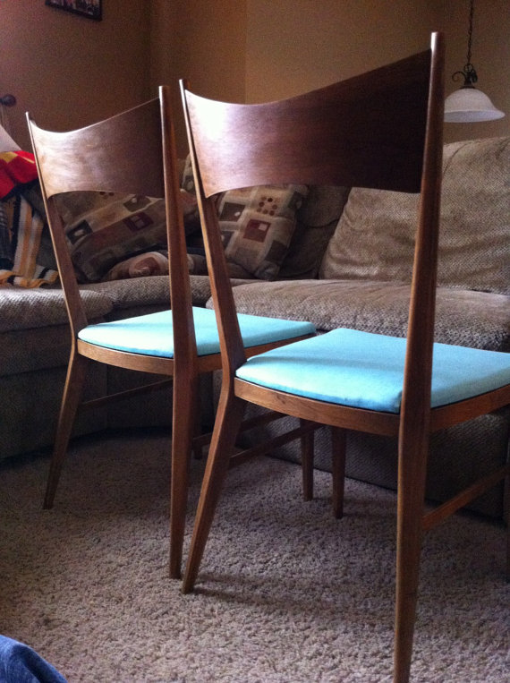 2 available! Paul McCobb for Calvin Furniture BOW TIE chairs. Ready to ship! Structurally rehabbed, new seat covers, new lacquer over original finish. I can't believe I still have them!