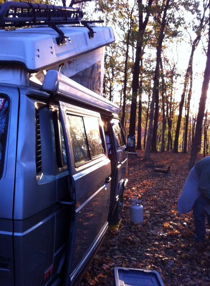 Late fall camping at Tohickon Valley Campground in Bucks County, PA.