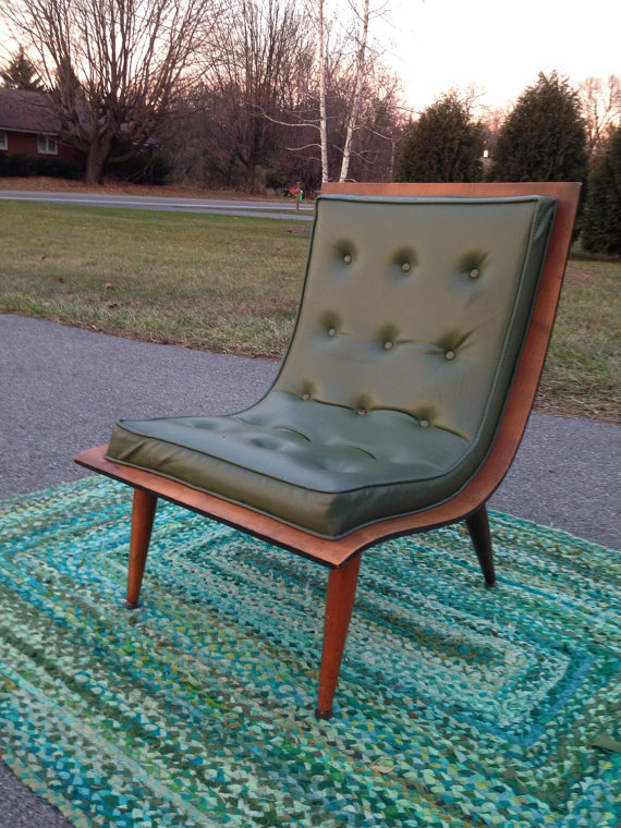 Carter Brothers Series 200 Scoop Chair features bent ply seat.  Very low and sexy!  Awesome avocado green vinyl upholstery!