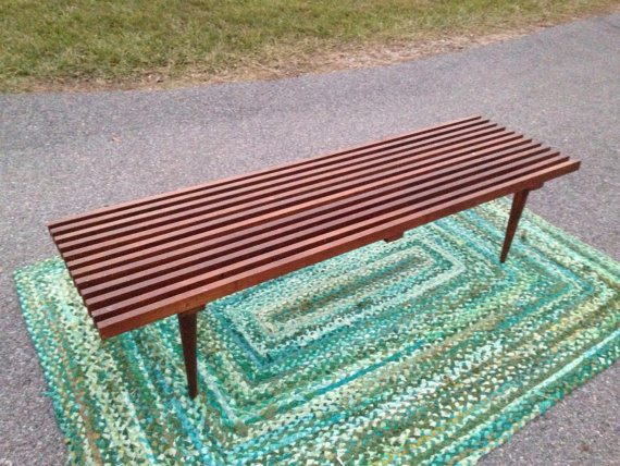 Awesome sturdy mid century slat bench!  IDing these things is near impossible.  Not marked.  MUCH sturdier than the last one I had so definitely a better brand.
