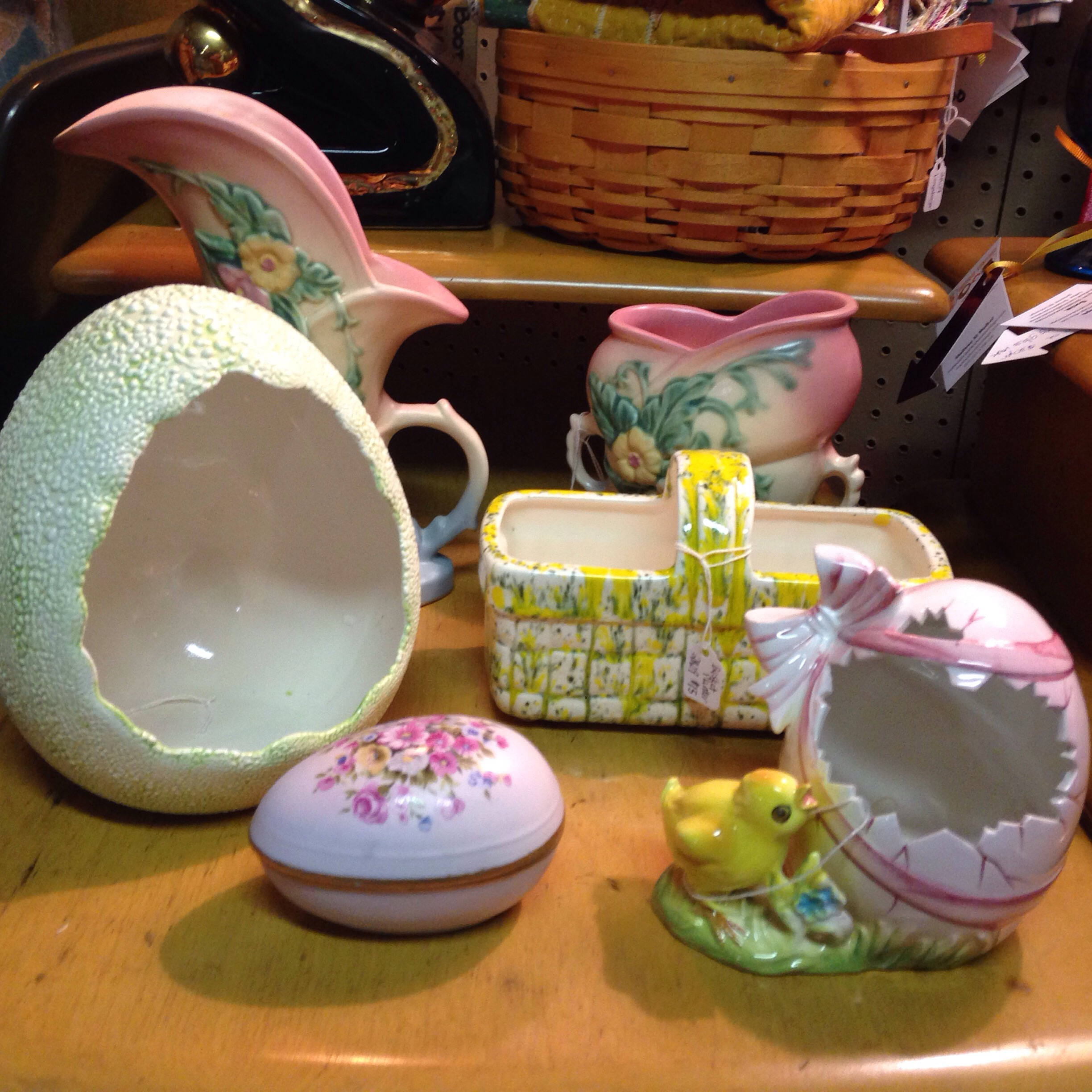 Easter goodies and Hull Art Pottery I just added.