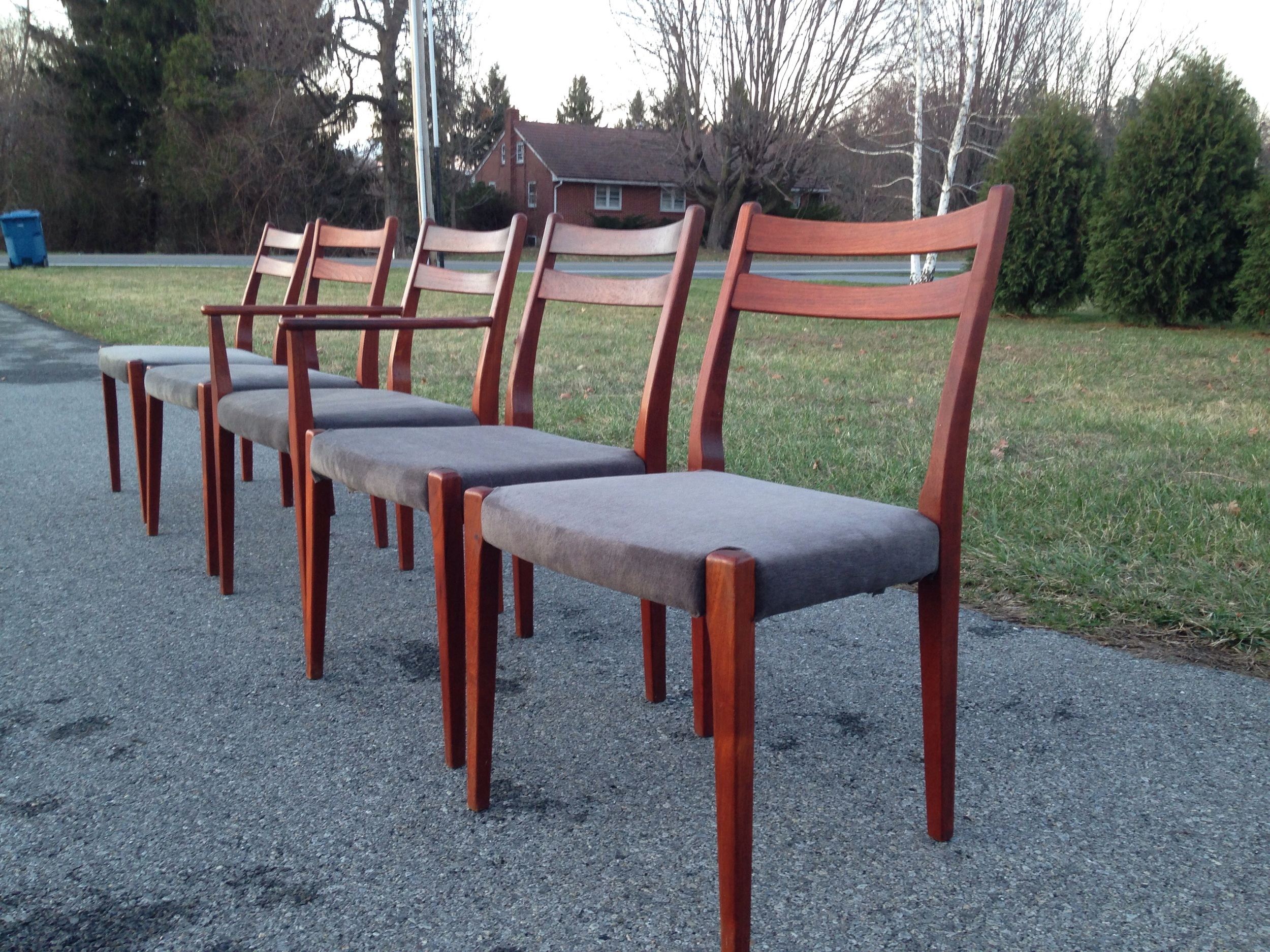 Set of 5 Made in Denmark Teak Dining Chairs in steel gray upholstery