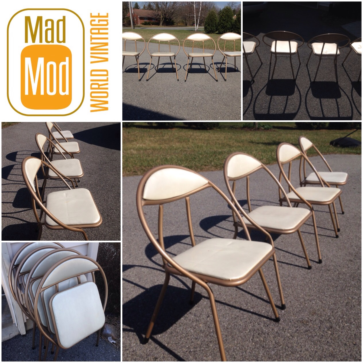 CLARK folding Hoop chair set of 4. Gold with opal vinyl. Clean with minimal wear. So unique!