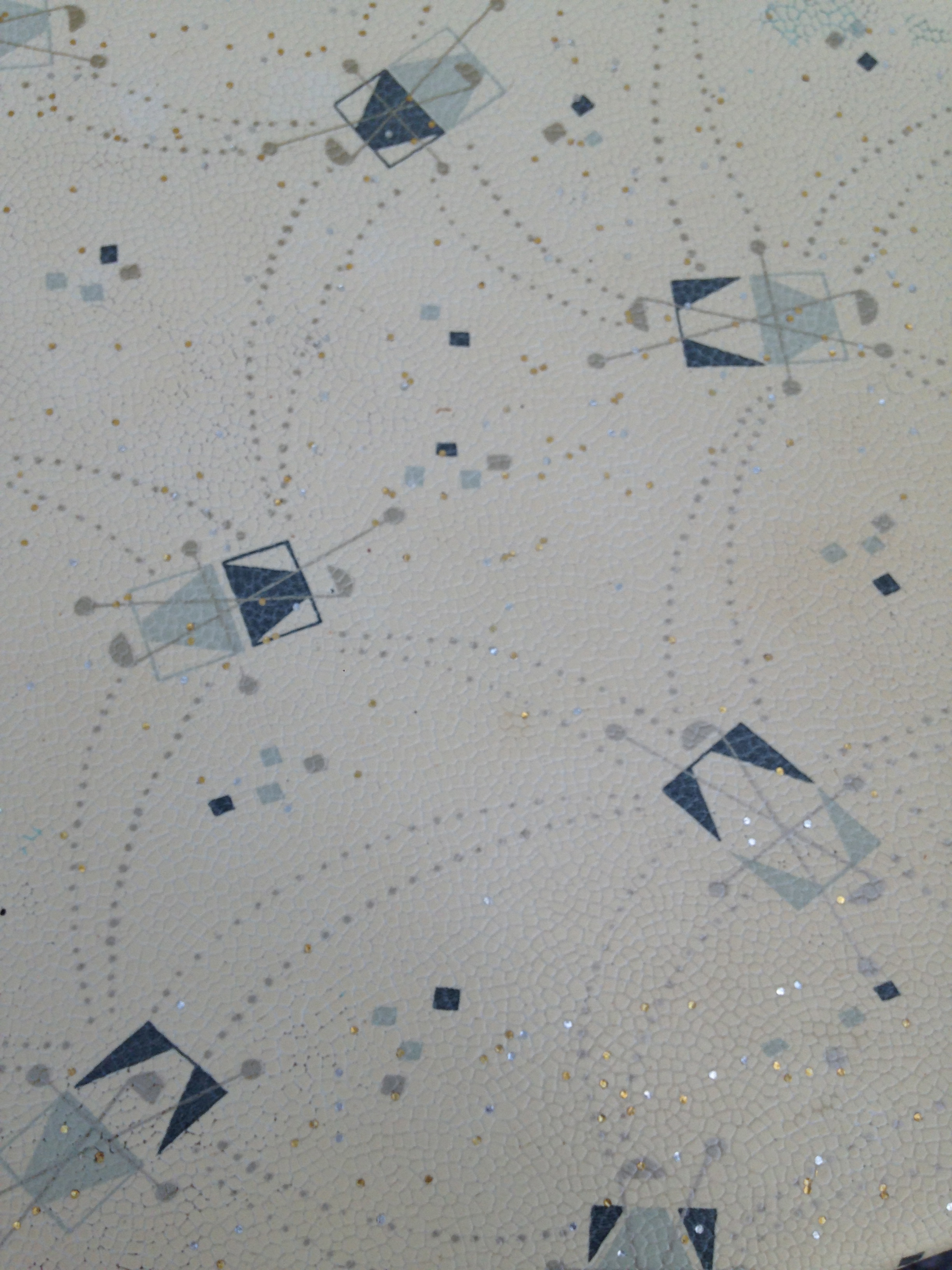 LOVE LOVE LOVE!!!!!  <3 <3 <3  Close up of this awesome pattern!  Dark blue, light blue, grey, metallic gold and silver.  It is fabulous!