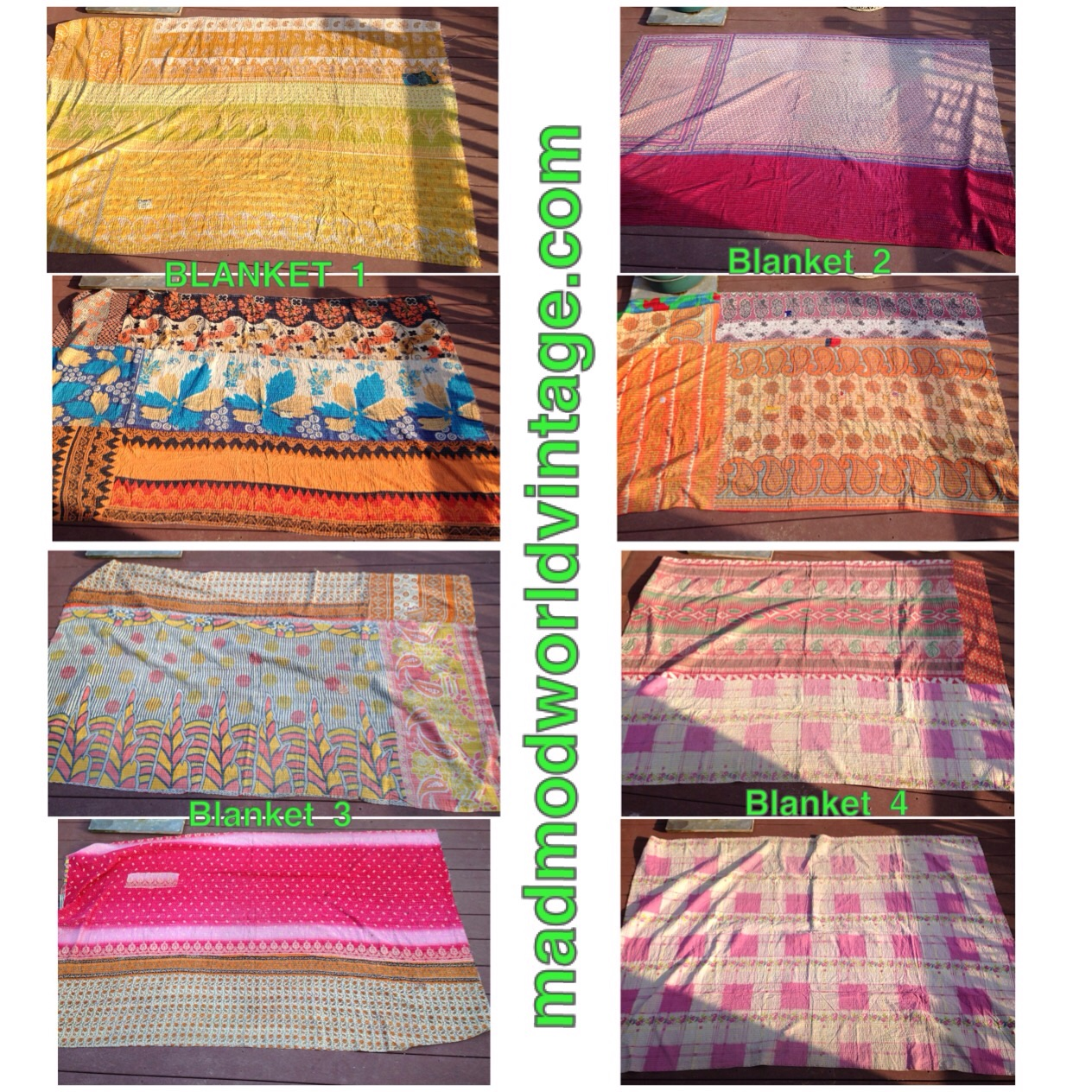 Gorgeous, twin size. Hand quilted in India of vintage Saris. So pretty! Take to the beach, pool, picnic, camper and so much more! They are beautifully boho and so colorful! Each side is a different blanket.