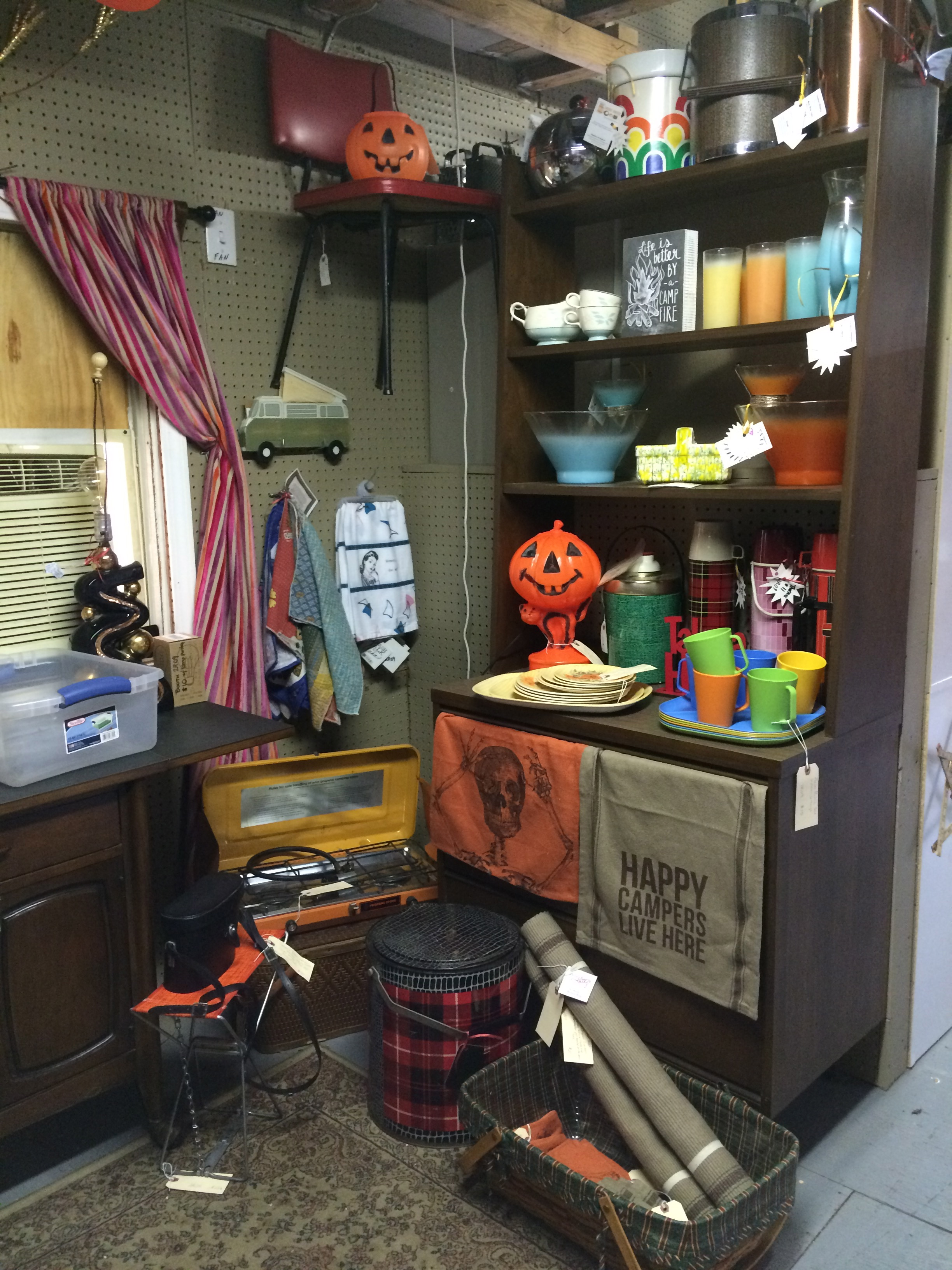 Halloween is IN! Grab some classic blow mold lights and pumpkin buckets! New door mats! Happy Campers Live Here reverses to WELCOME WHERE FRIENDS AND MARSHMALLOWS GET TOASTED AT THE SAME TIME.  Shop at fleetwoodantiquemall.com WED-SUN 10am-6pm