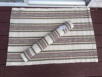 Sail Stripe cotton throw rug 36 by 24