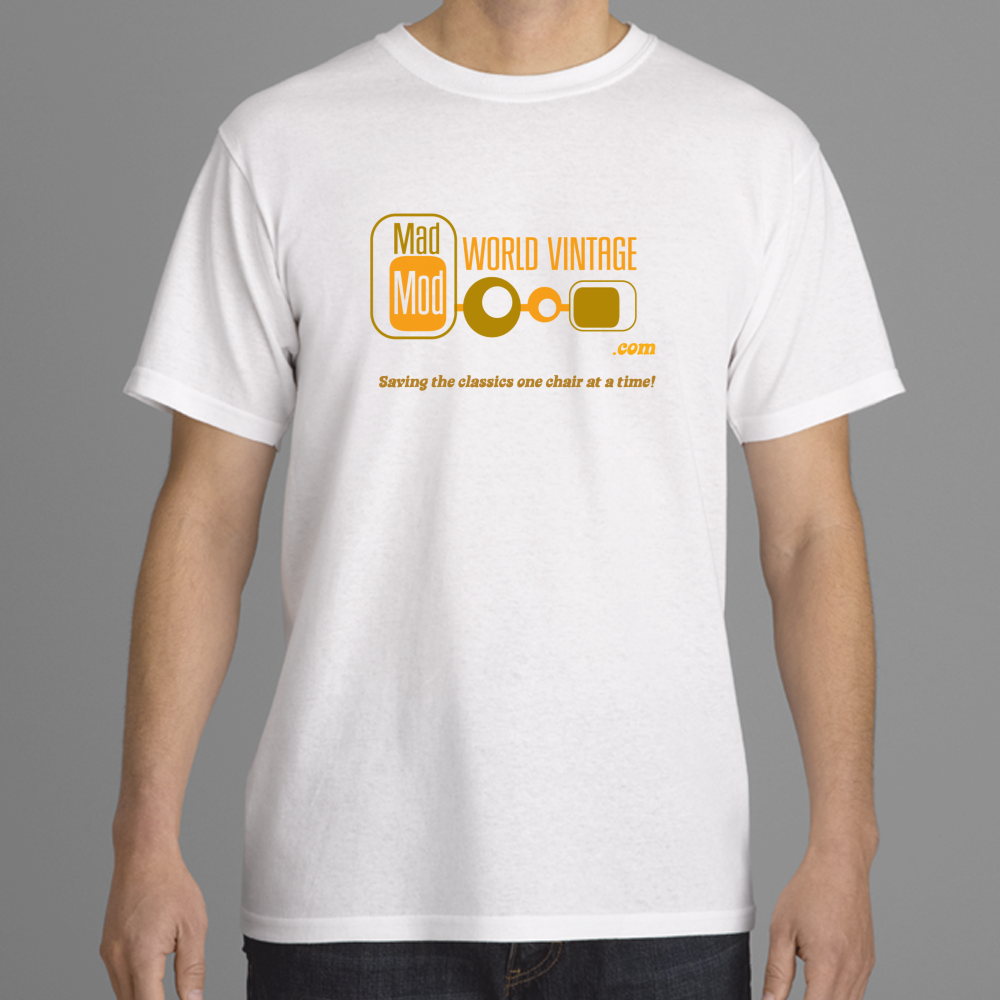 A preview of the shirt layout.  Logo with .com followed by SAVING THE CLASSICS ONE CHAIR AT A TIME