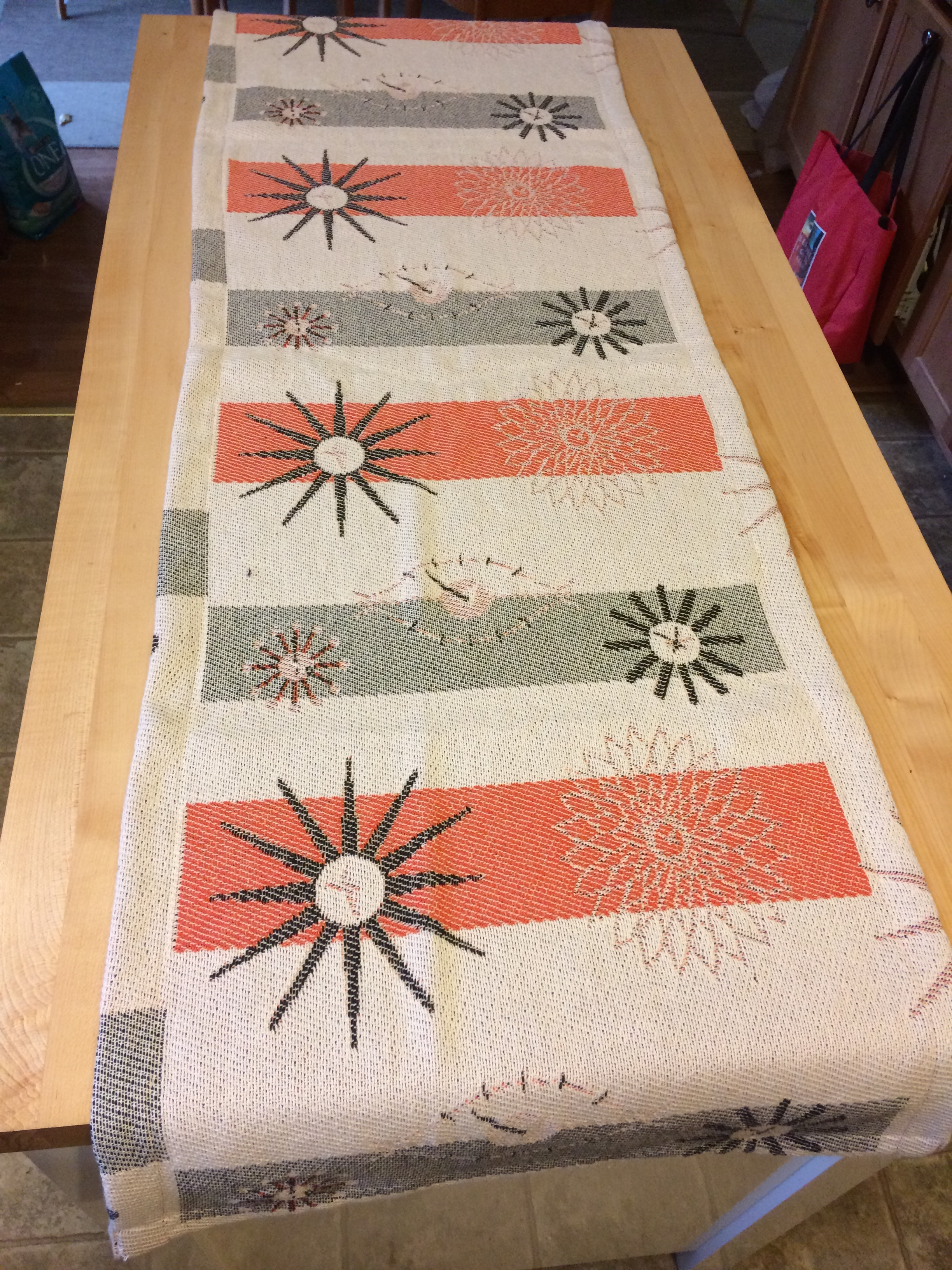 Available as of time of writing but has watchers. $25 plus shipping! Great price and so beautiful.  The intricately woven pattern features 3 thread colors....deep orange, black and natural.  If you can't afford a clock, this at leas will tide you over.  Looks great on a table or credenza. https://www.ebay.com/itm/322359452461