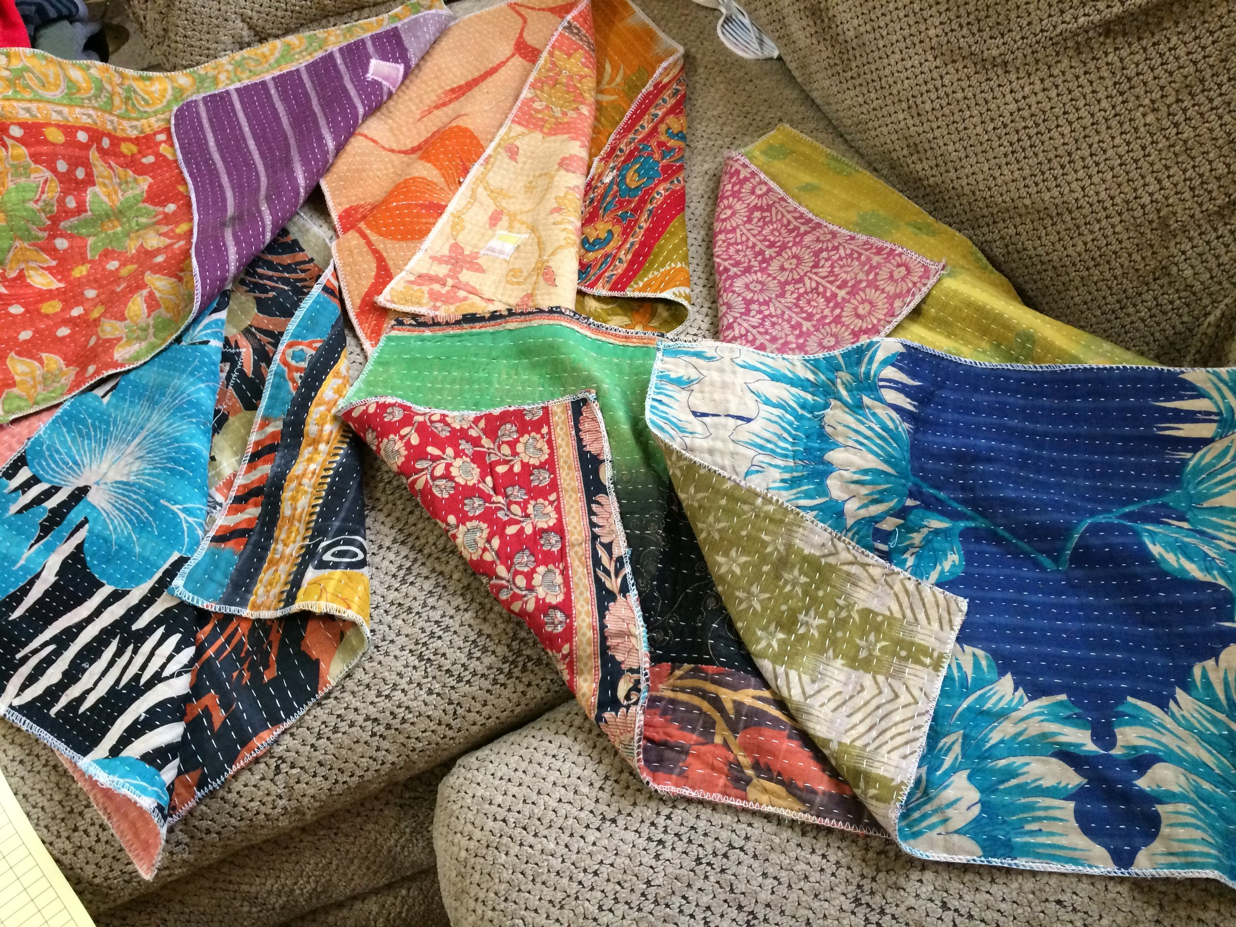 Indian Kantha Placemats restocked!  I have 2 sets of 4 available, $30 each plus ship. ON ETSY. https://www.etsy.com/listing/499015843/assorted-india-sari-placemat-set-of-4