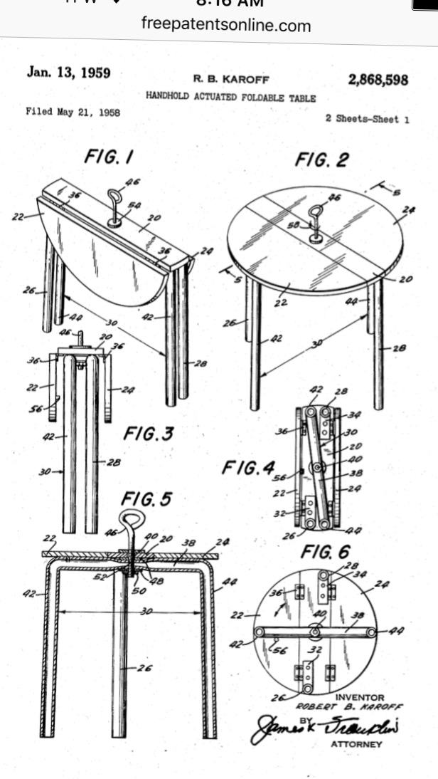 Blueprint sketch of the table as submitted with the patent.