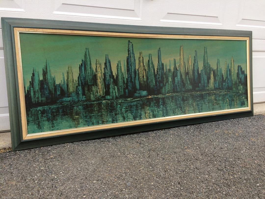 UPDATE SOLD!  Very long framed print for Turner Wall Accessory.  Signed Mato.  This are not high end but are in demand.  This print is entitled NEW YORK HARBOR SCENE.  It is blue-green hues and the frame is stained blue.  A real nice piece.