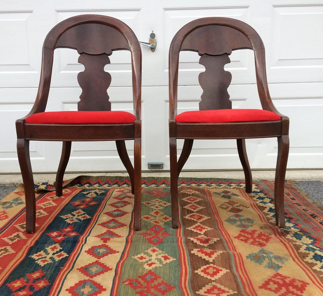 A very pretty pair of Empire era accent chairs.  These date to the late 1800s and have such great lines, I can see them blending well in a mixed era home.  The red velvet is a recover and in ok shape but that can easily be changed out to match your decor.  Condition is shabby, some chips and age related wear.  One has a repair on the back.  This vintage is best left untouched.  They are charming!  I picked up the rug as well.  It will not be for sale at this time.
