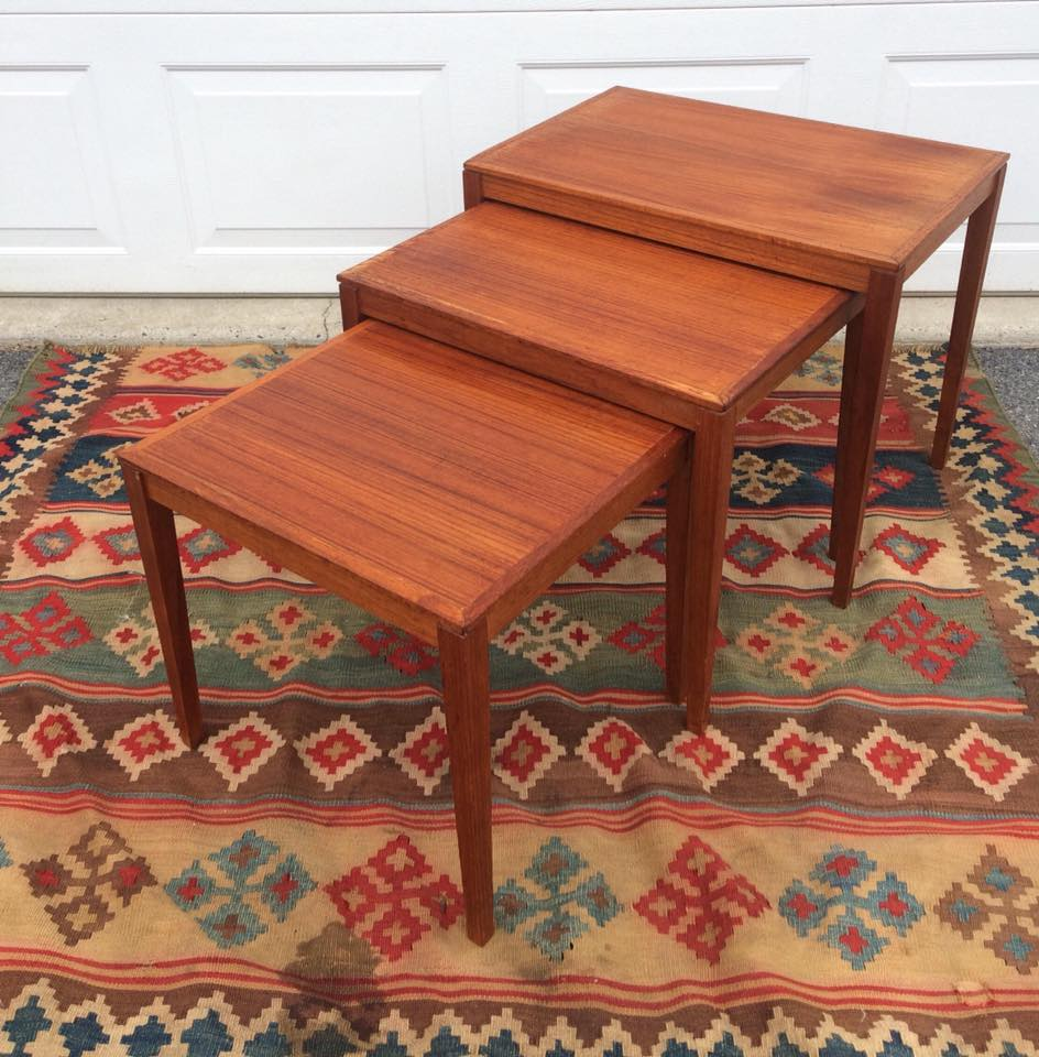 Bent Silberg Mobler Made in Denmark, teak nesting table set is now available!