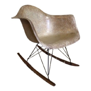 Iconic eames fiberglass shell found and refreshed. Added a gorgeous reproduction rocker base from modern conscience. This early shell dates between 1951 and 1953. It truly is a treasure and an amazing room accent everyone will recognize.