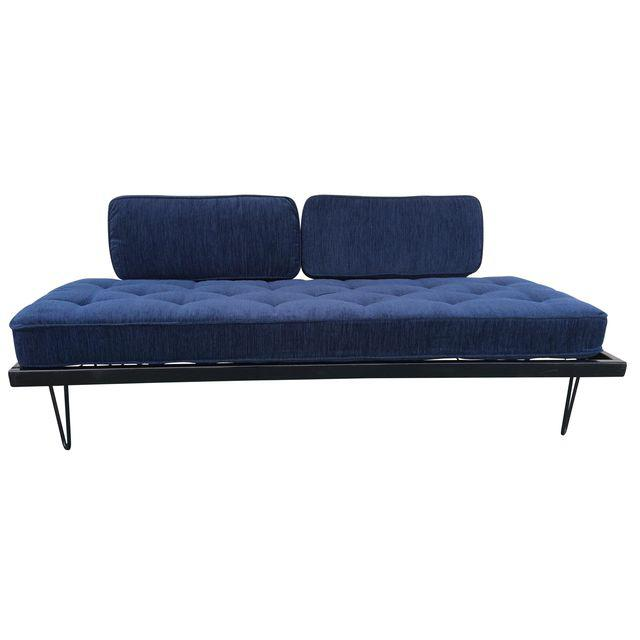 this Amazing Day Bed. features All New upholstery featuring JoYBIRD Pet and kid friendly fabric. gorgeous indigo will be a great neutral and go with any decor.