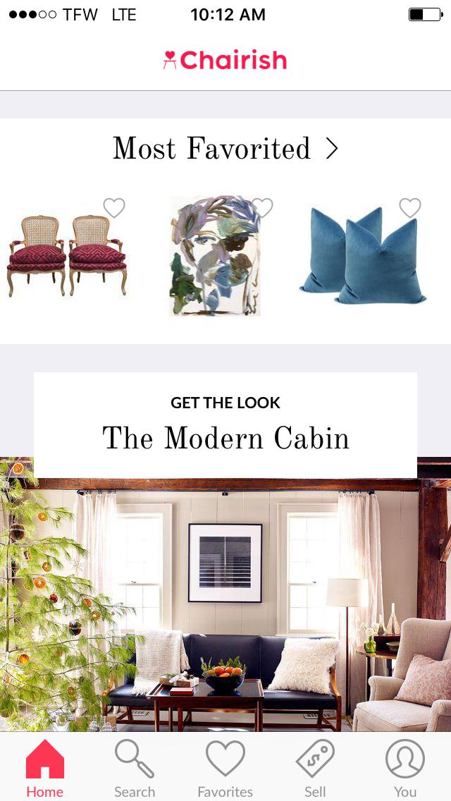 HOME Screen in the Chairish App.