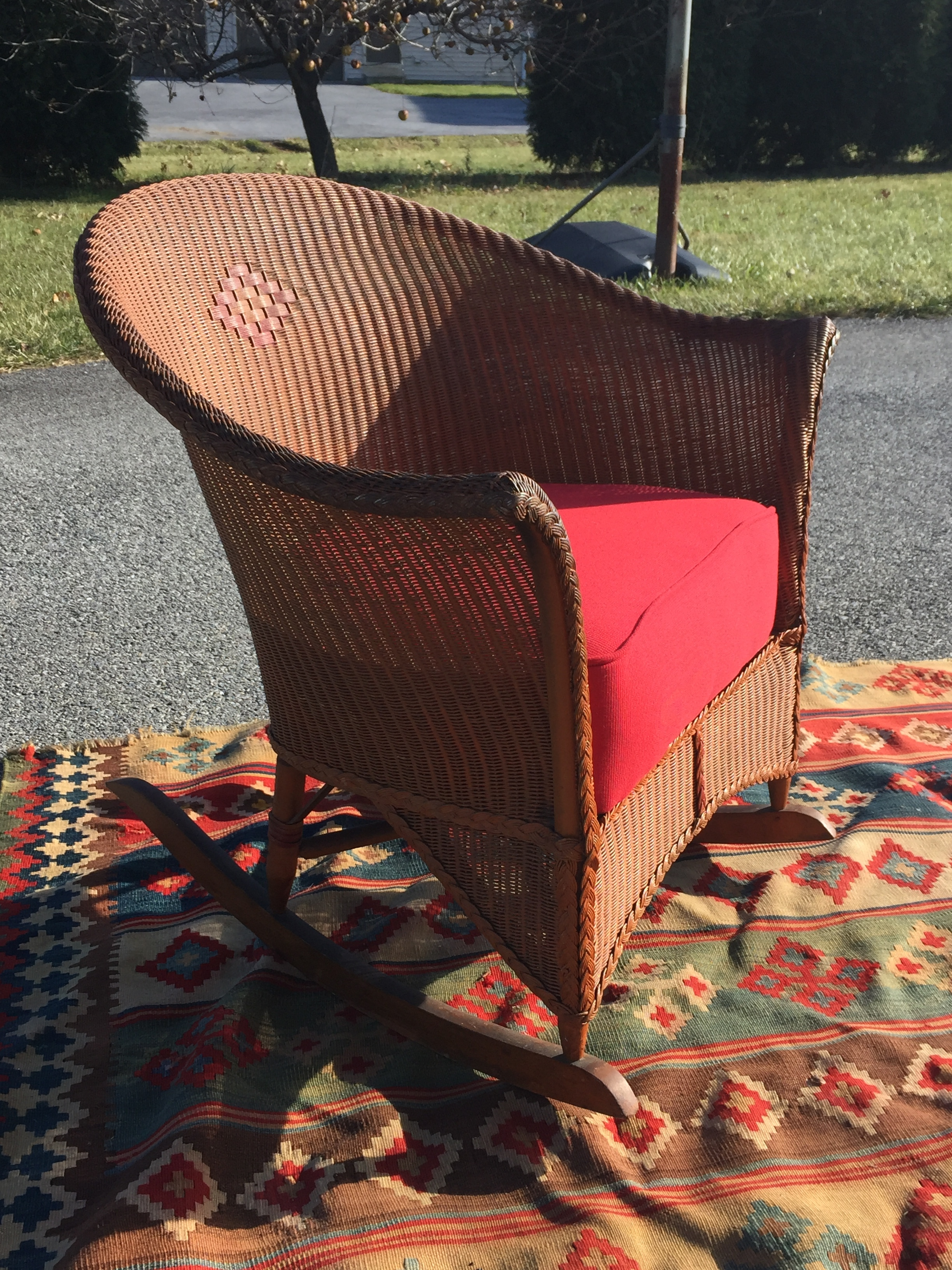 When shopping vintage, I know what you will find. This chair had 2 areas of broken weave....it's now repaired. The upholstery was gross and there was an issue with the seat frame....it's now repaired and better than ever.  This chair is as comfy as it looks!
