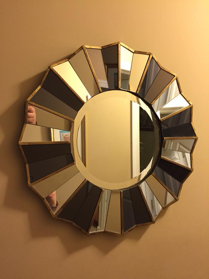 "JUST LISTED: beautiful 21"" diameter faceted mirror.  Great for a hall, foyer or smaller wall.  Mirrored glass is mounted on a heavy wood piece and features black painted wood with gold painting trim."