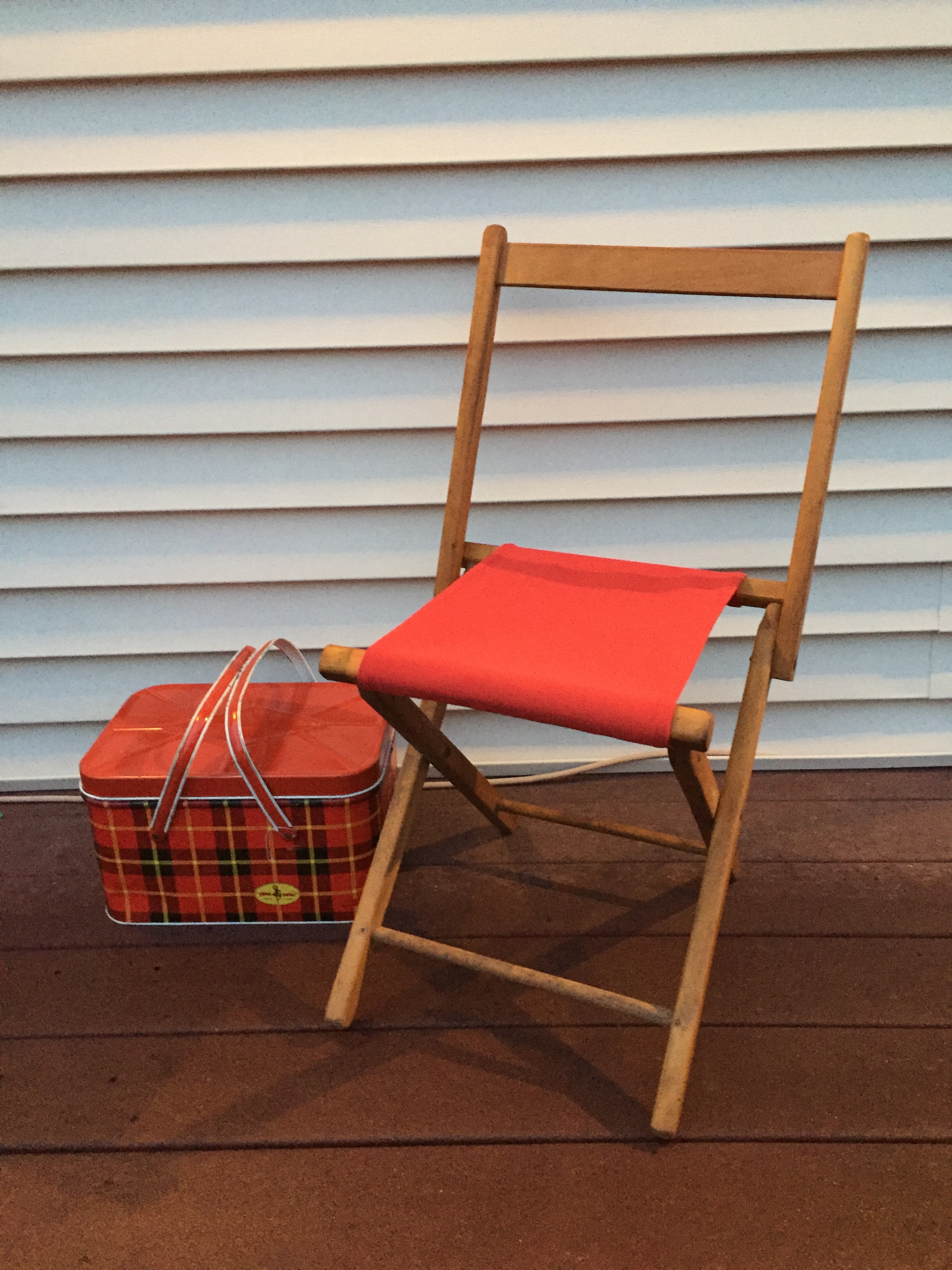 Just made this cute little camp chair a new seat. Feautures indoor/outdoor fabric from F Schumacher.  Ready to go!