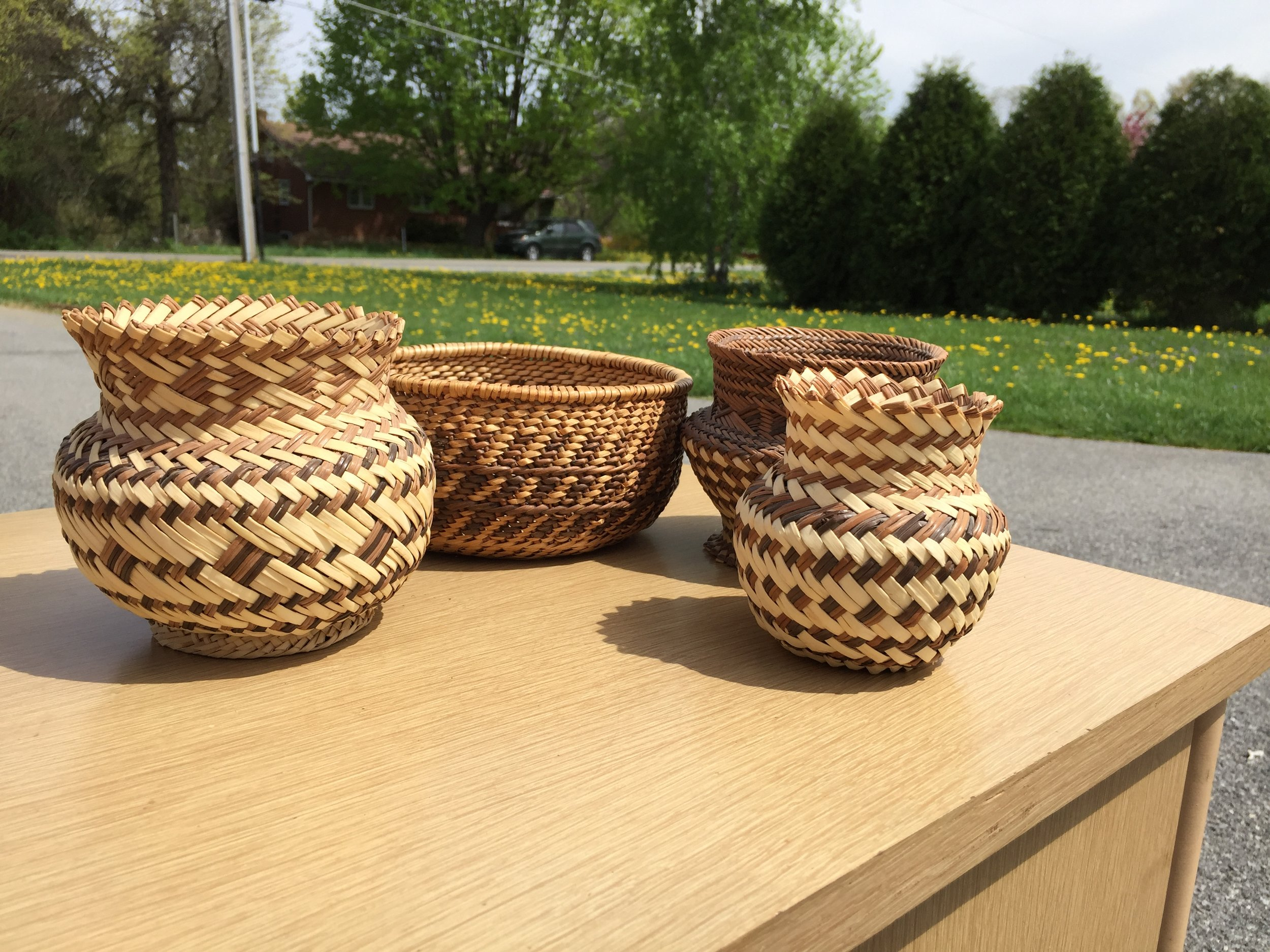 Great little set of hand woven reed baskets.