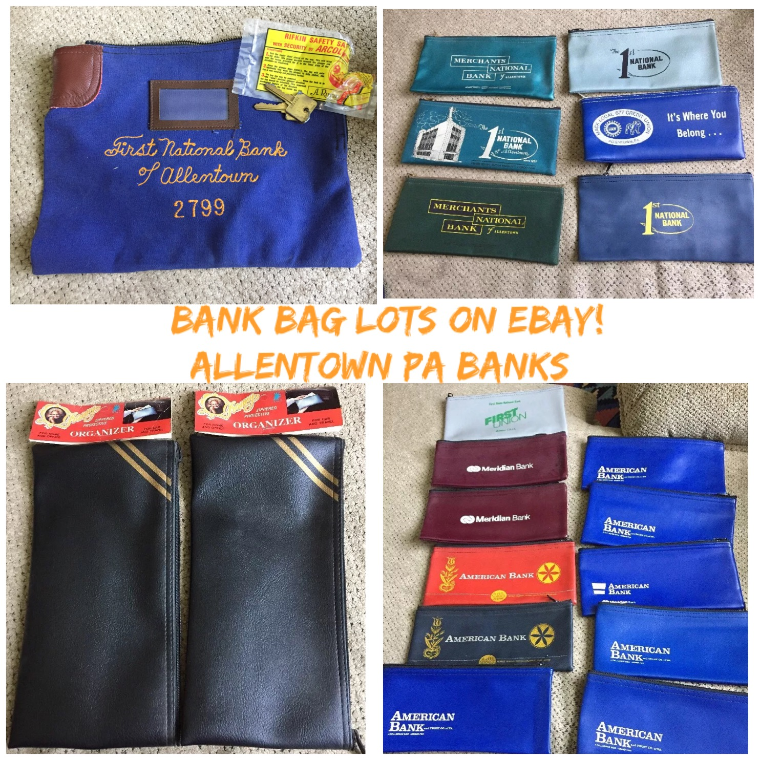 4 lots of bank bags up for grabs. Nice regional banking history here! And useful too!