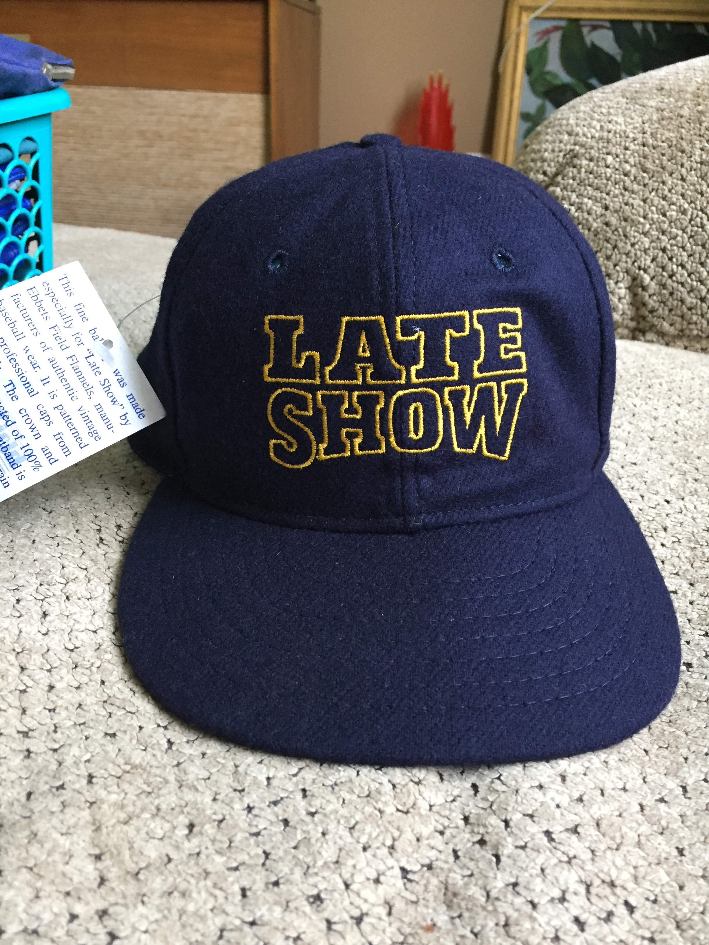 New with tags size 7-1/4.  Wool flannel 50s style baseball cap with DAVID LETTERMAN's Logo.  Really nice cap!