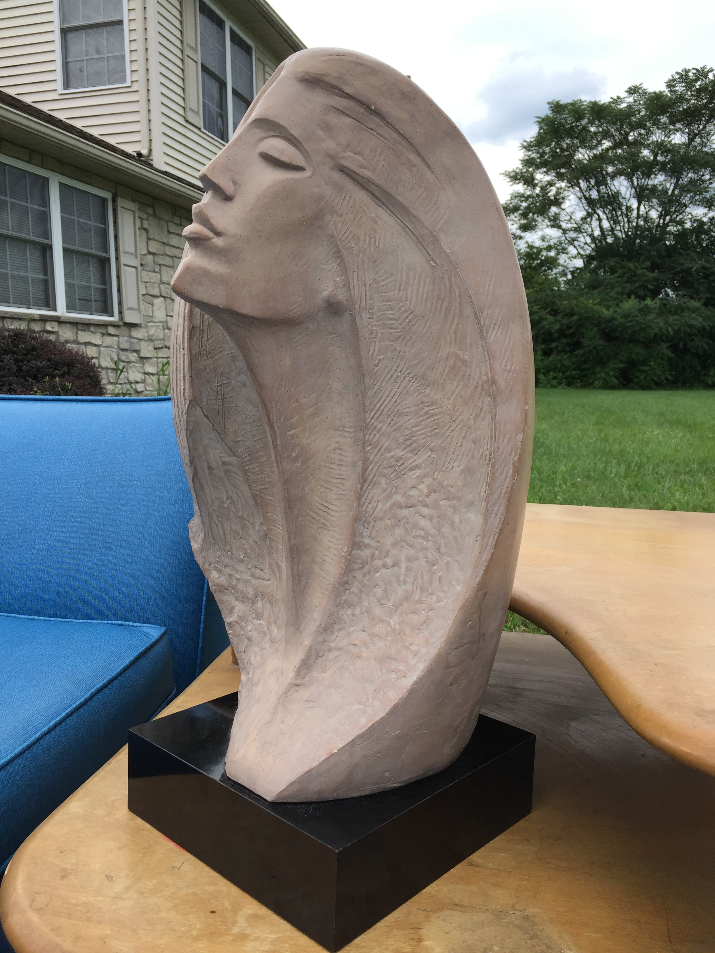 Also picked up this amazing Austin Productions post modern sculpture by David Fisher, Russian American artist.  She is entitled the Stargazer and stands 2' high.  If you are looking for a stunning sculpture she is in very good condition!