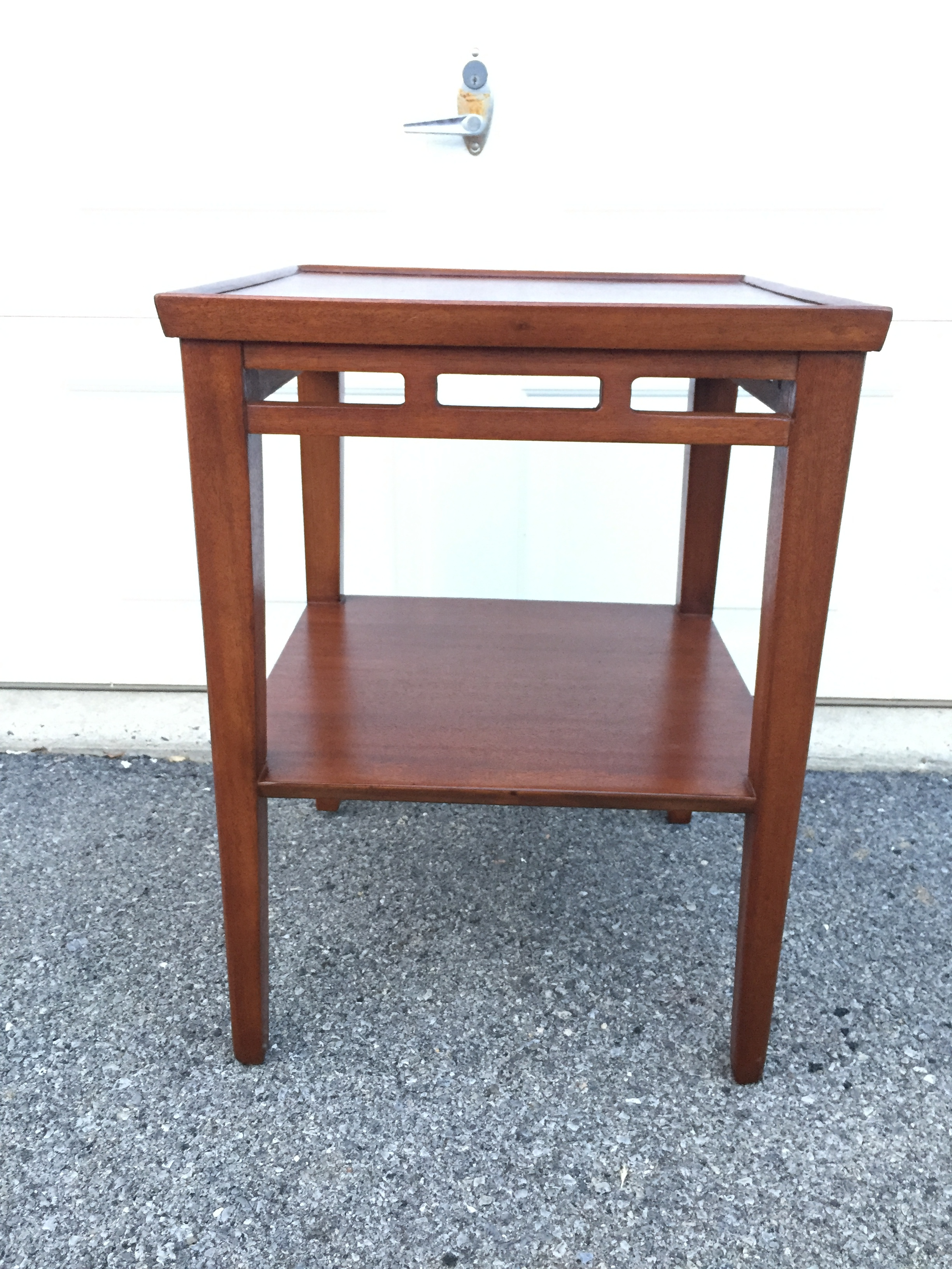 Also just in: mahogany accent or lamp table. Beautiful piece in excellent condition. Great for mission and arts/crafts style. Will mix with mcm just fine. Very nicely made. Age and maker are unknown. Wood is gorgeous. High enough to hold a lamp next to your couch or a chair.