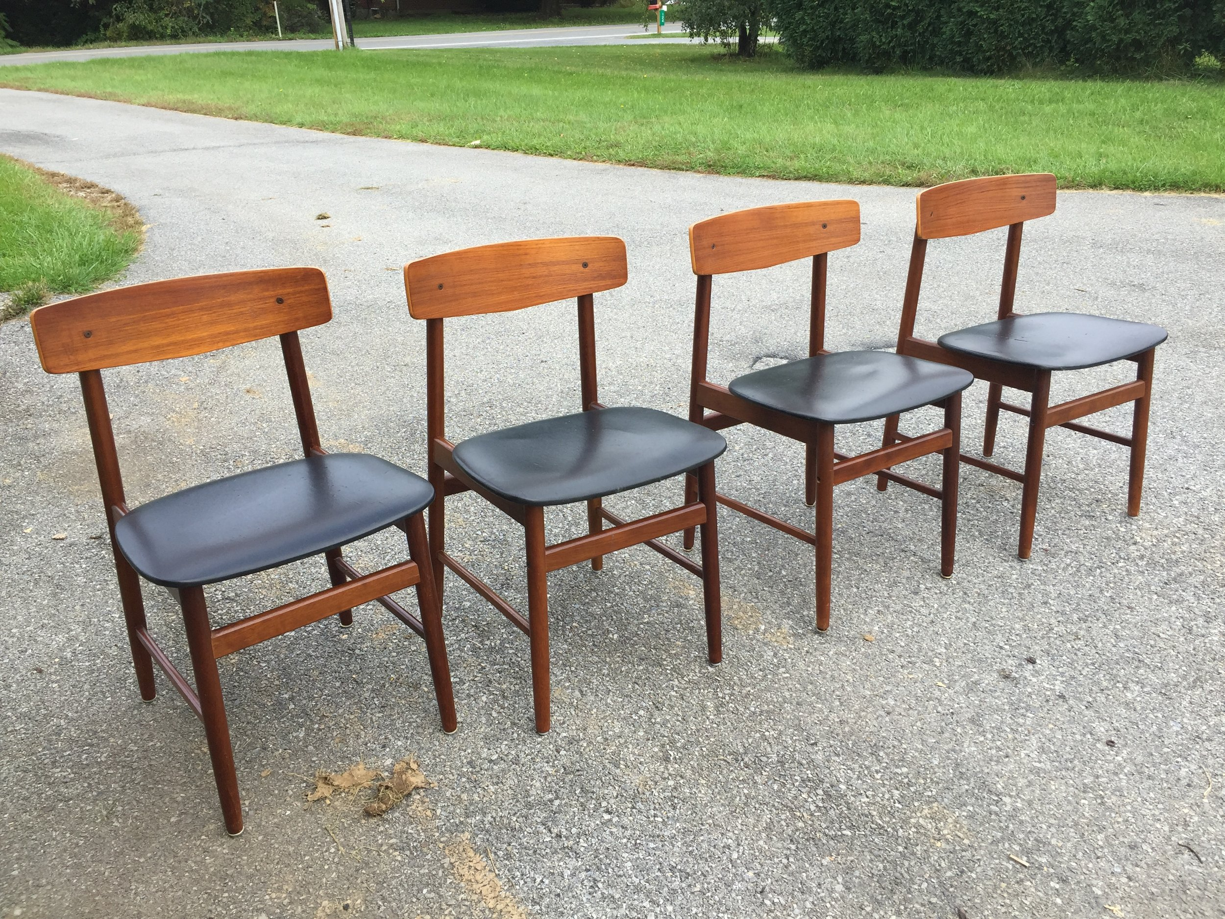 Set of 4 Farstrup Mobler dining chairs.  I will custom recover the seats in fabric you choose from my stash, black vinyl or I can source something for you to order. They are listed in the Etsy shop, coming to chairish.
