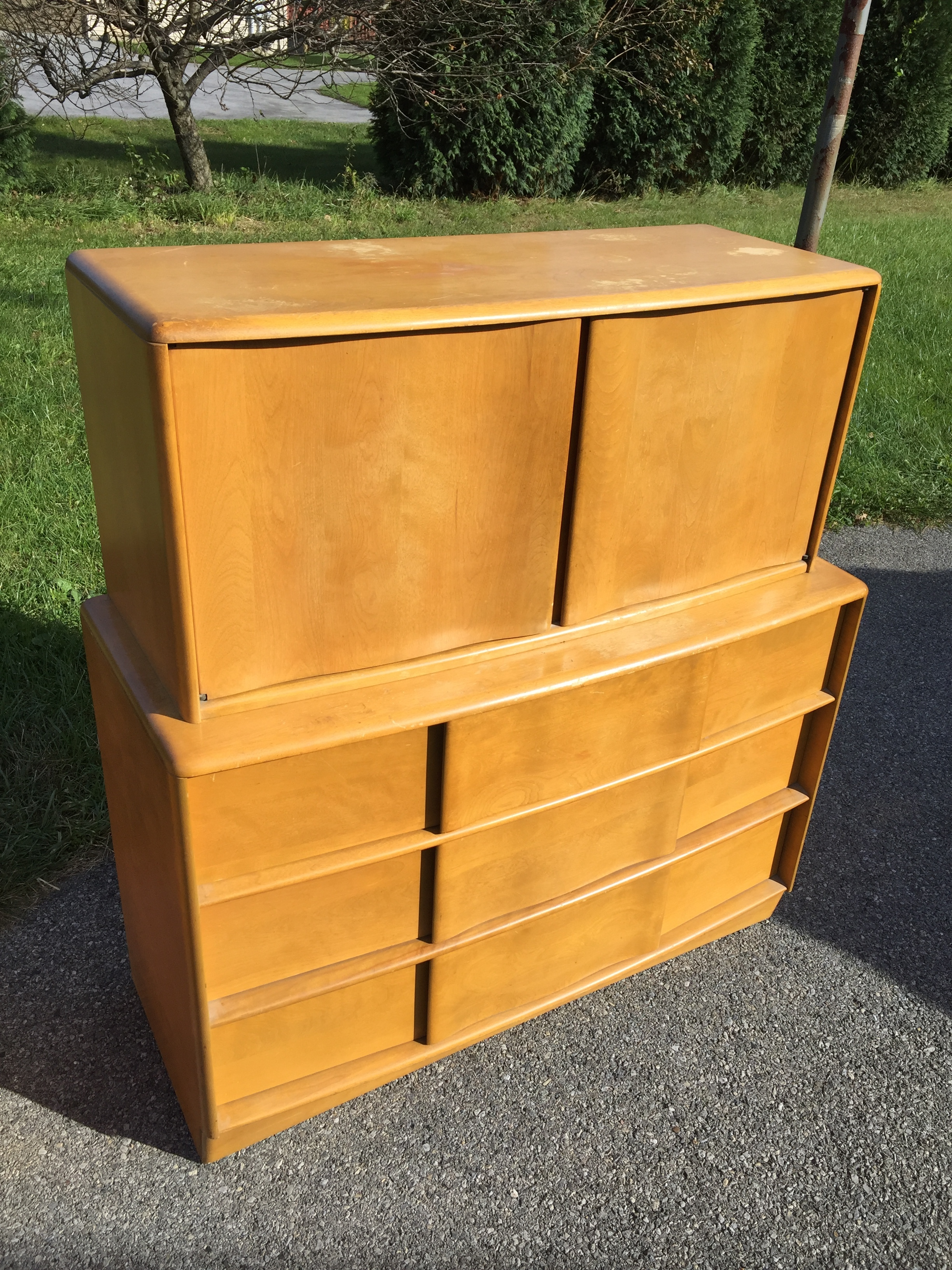 SOLD Heywood Wakefield Sculptura 3 drawer chest with top deck cabinet in Wheat finish. Needs some finish love especially on tops but a super awesome piece and structurally just fine. $350