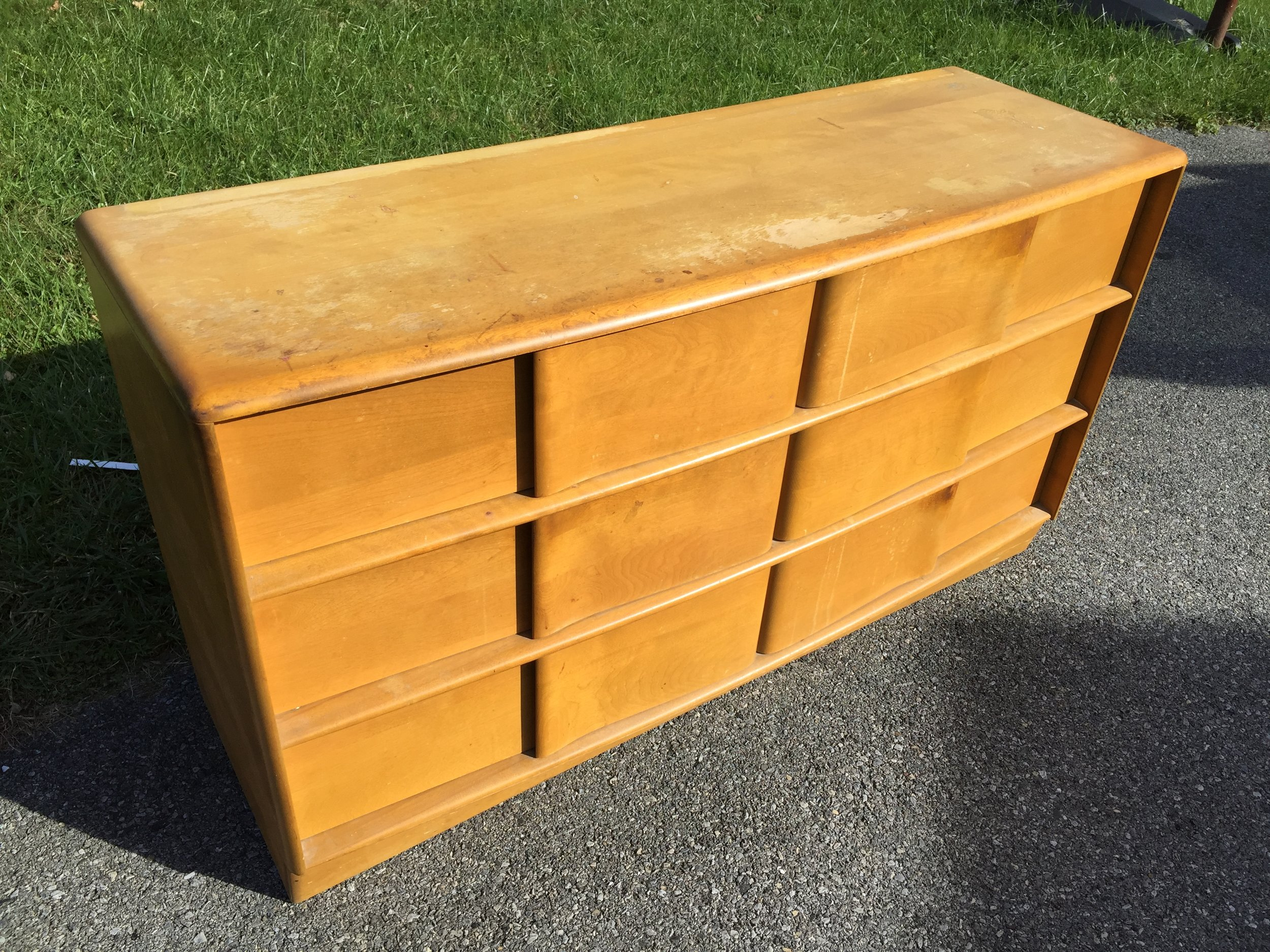 Heywood Wakefield Sculptura 6 drawer low chest with mirror (see below). Also in Wheat with finish issues. $300