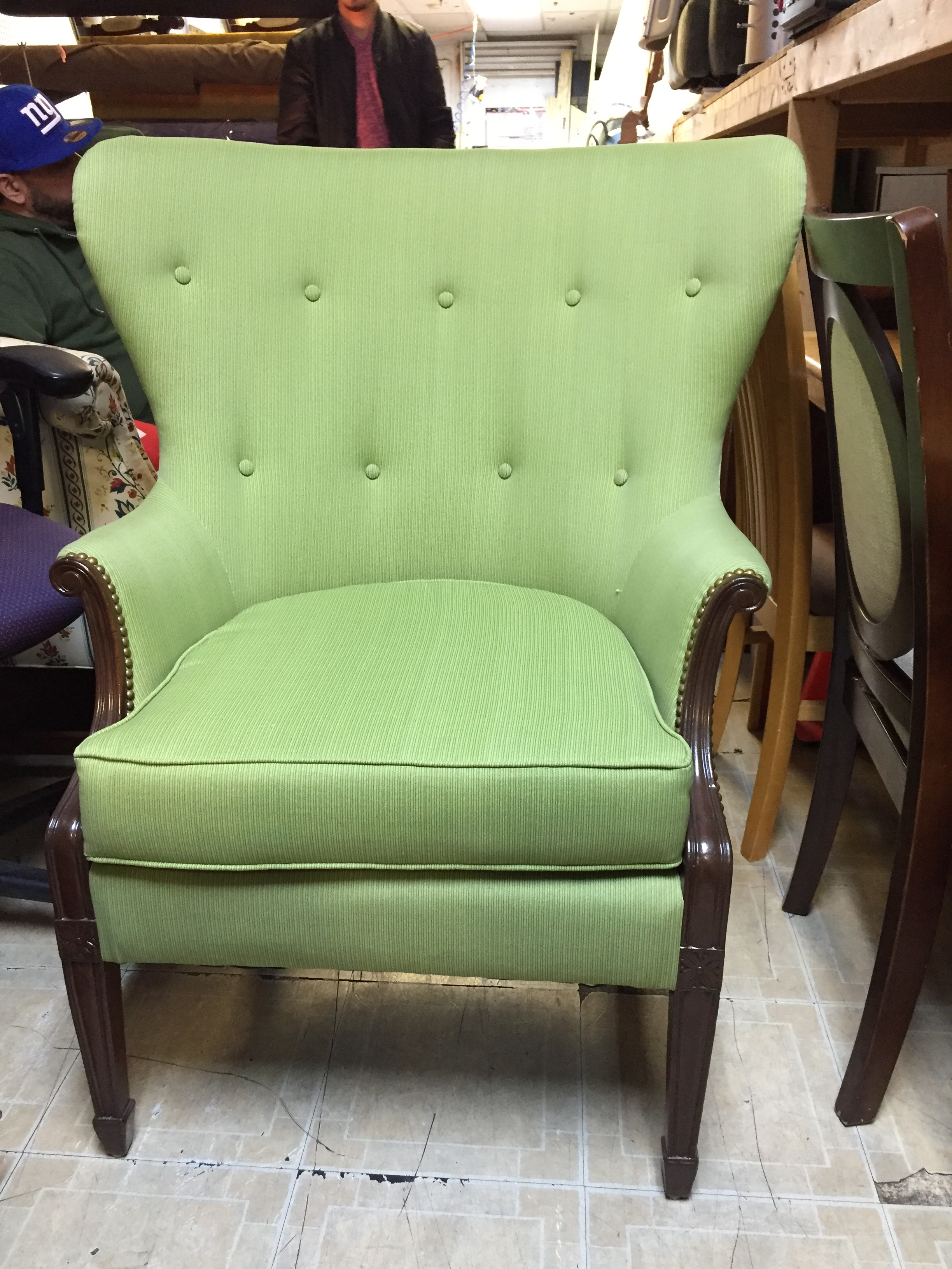 Gorgeous mod wing back in spring green upholstery.  This has been fully restored by my beloved upholsterer.  It is an amazing queen throne and the perfect accent for your  maximalist decor.  You can work this into bohemian, jungalow and midcentury decors.  I see it with some amazing jungle walls........