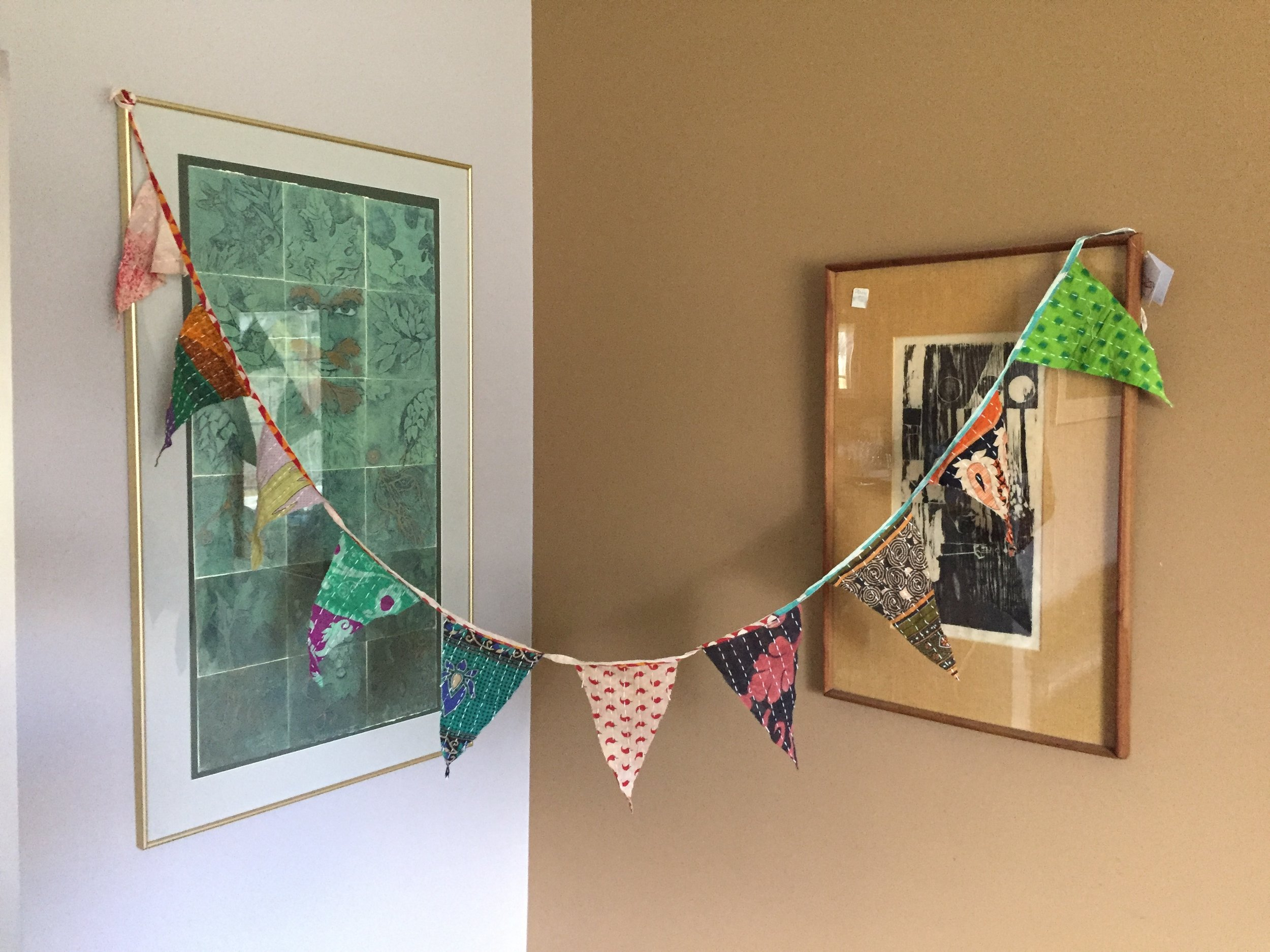 New item! Kantha bunting (pennant) for home or camp!  2 in my Etsy shop, 1 in my local retail space. So fun!  So bohemian!