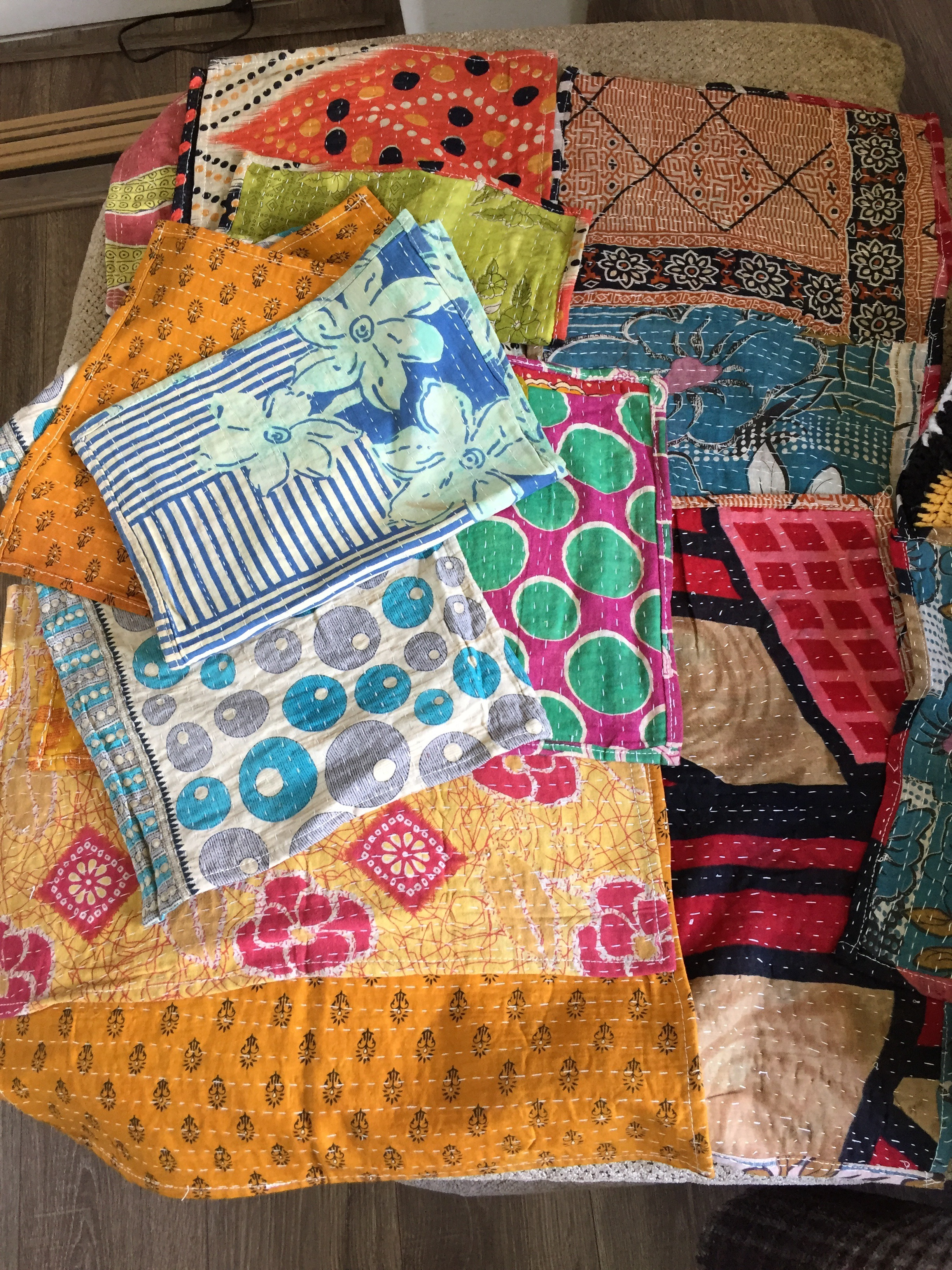 Restocked colorful Kantha placemats! These are a consistent seller on Etsy and I have given some sets out recently as gifts and they are loved! I have 3 sets (of 4) available and listed on Etsy.